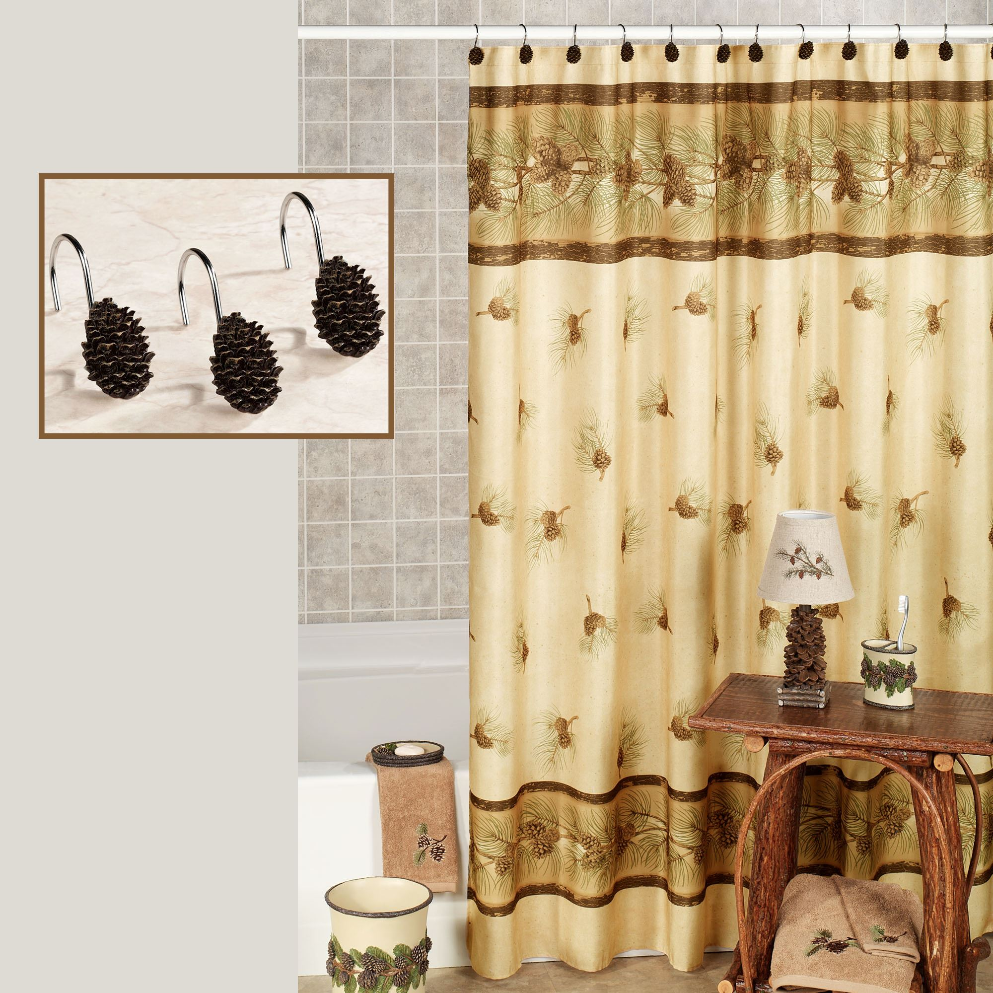 Pinehaven Shower Curtain Beige 70 x 70