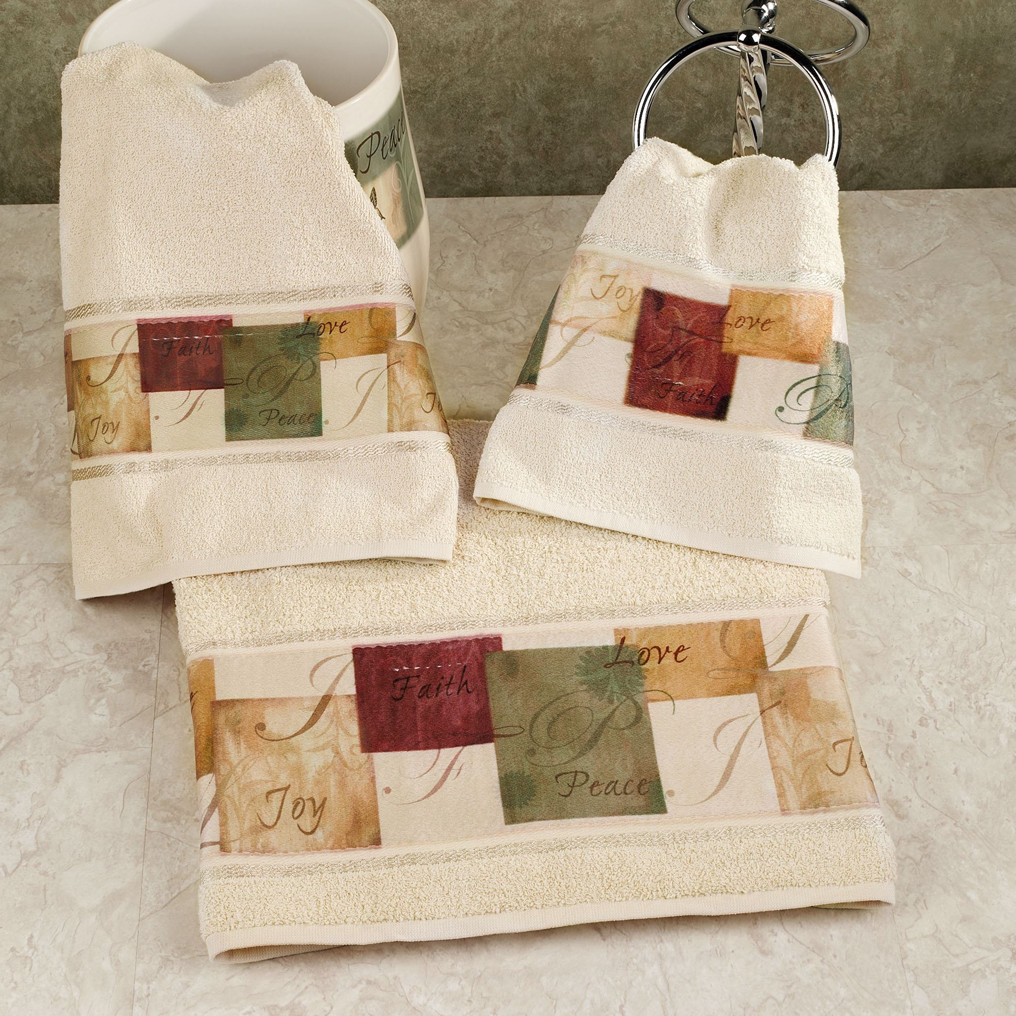 Tranquility Bath Towel Set Beige Hand Fingertip Touch To Zoom