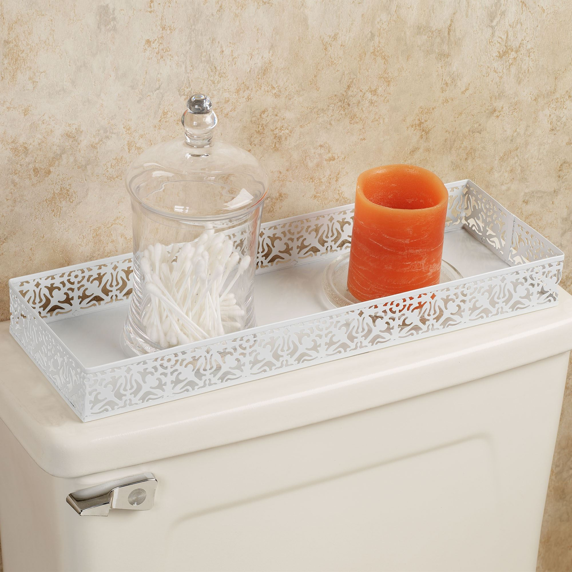 Lace Design Metal Toilet Tank Top Tray