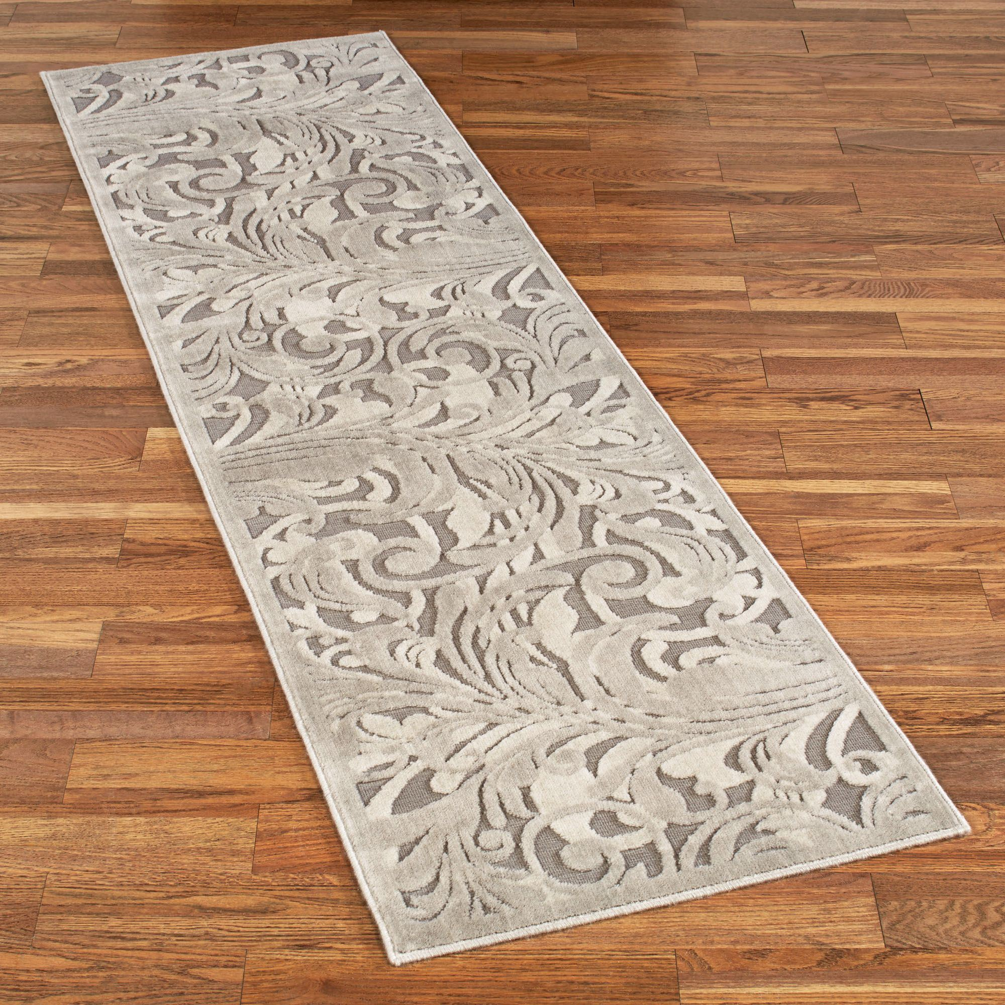 Tantalizing Graphic Scroll Gray Rug Runner