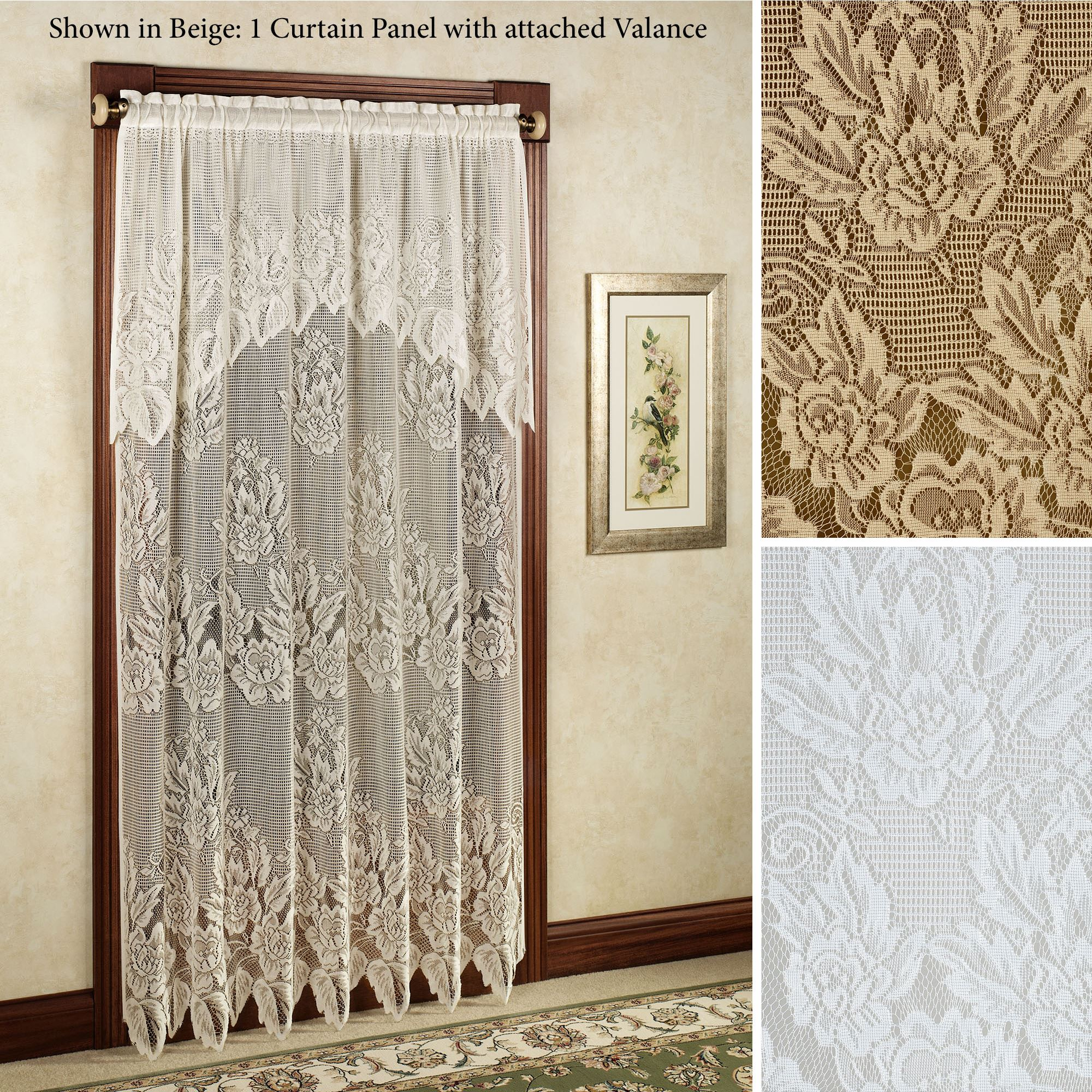 Hallie Lace Curtain Panel with Valance. Click to expand