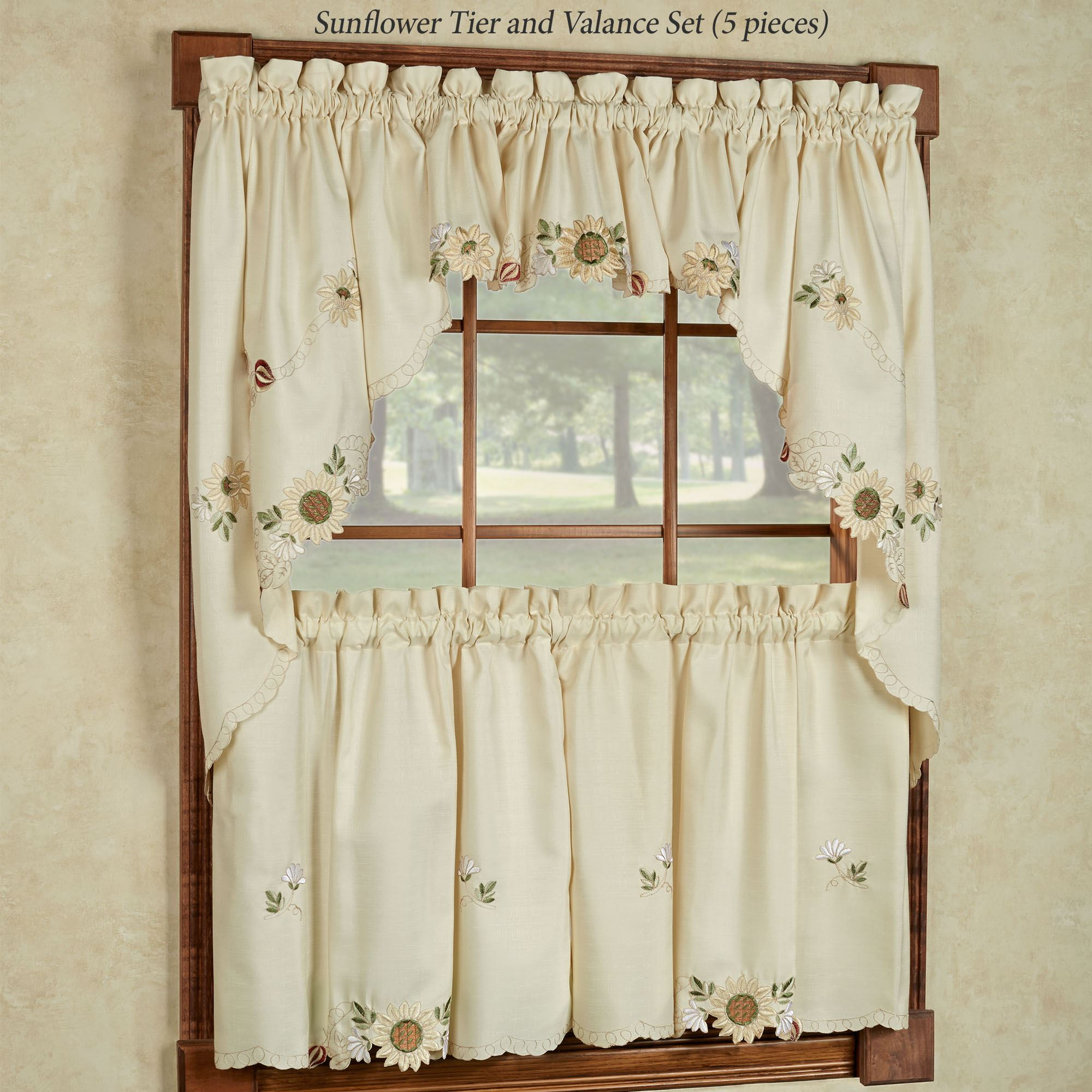 Sunflower Embroidered Tier Window Treatment