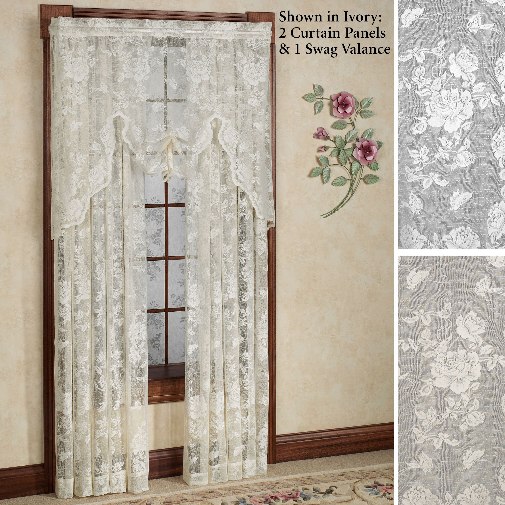 """Abbey Rose Floral Pattern High Gauge Lace Curtain Single Panel 50/""""W x 63/""""L White"""