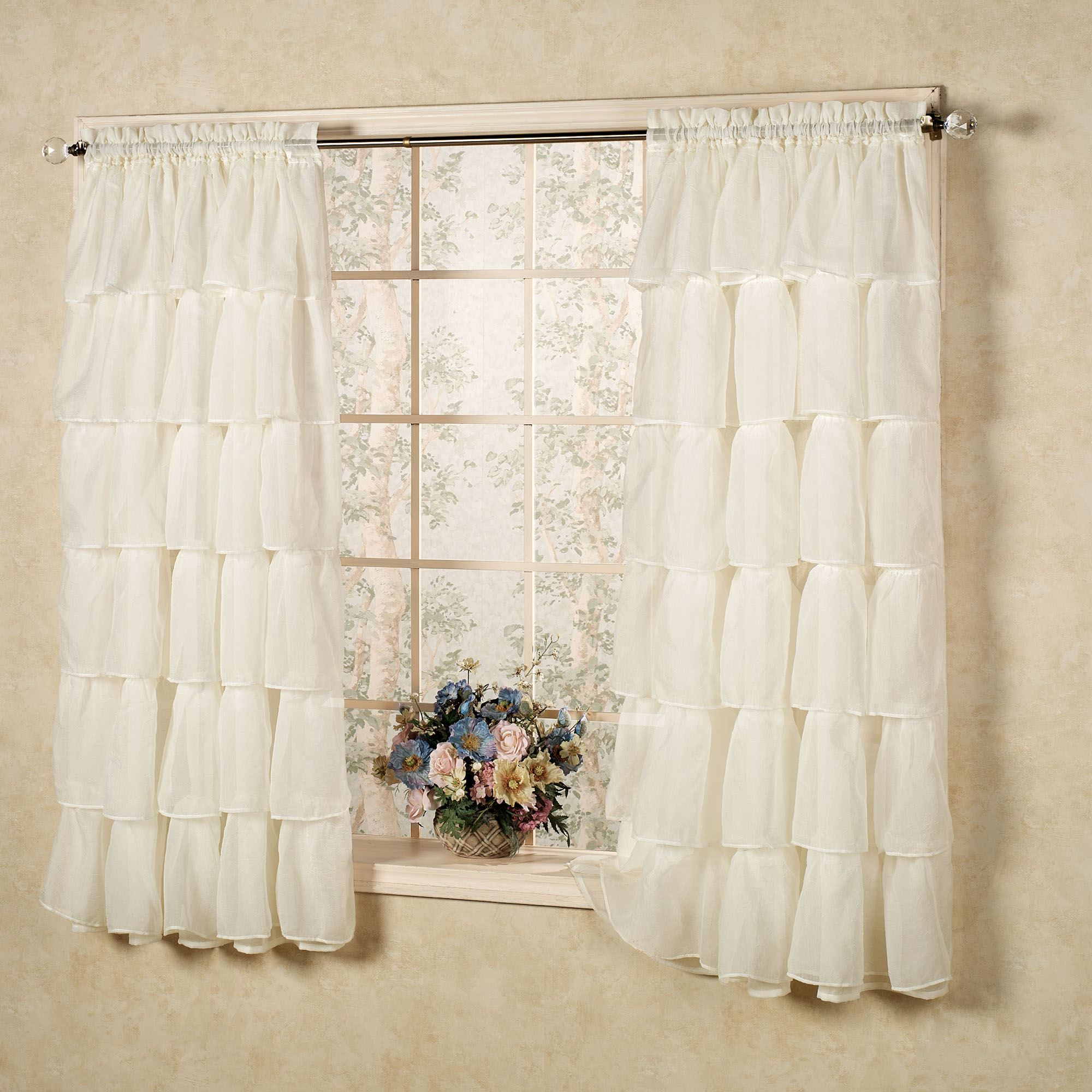 Gypsy Sheer Voile Ruffled Window Treatment Ruffled Curtains