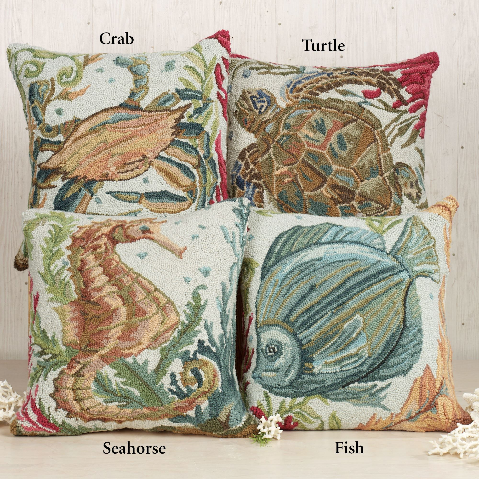 Sealife Hooked Coastal Decorative Pillows