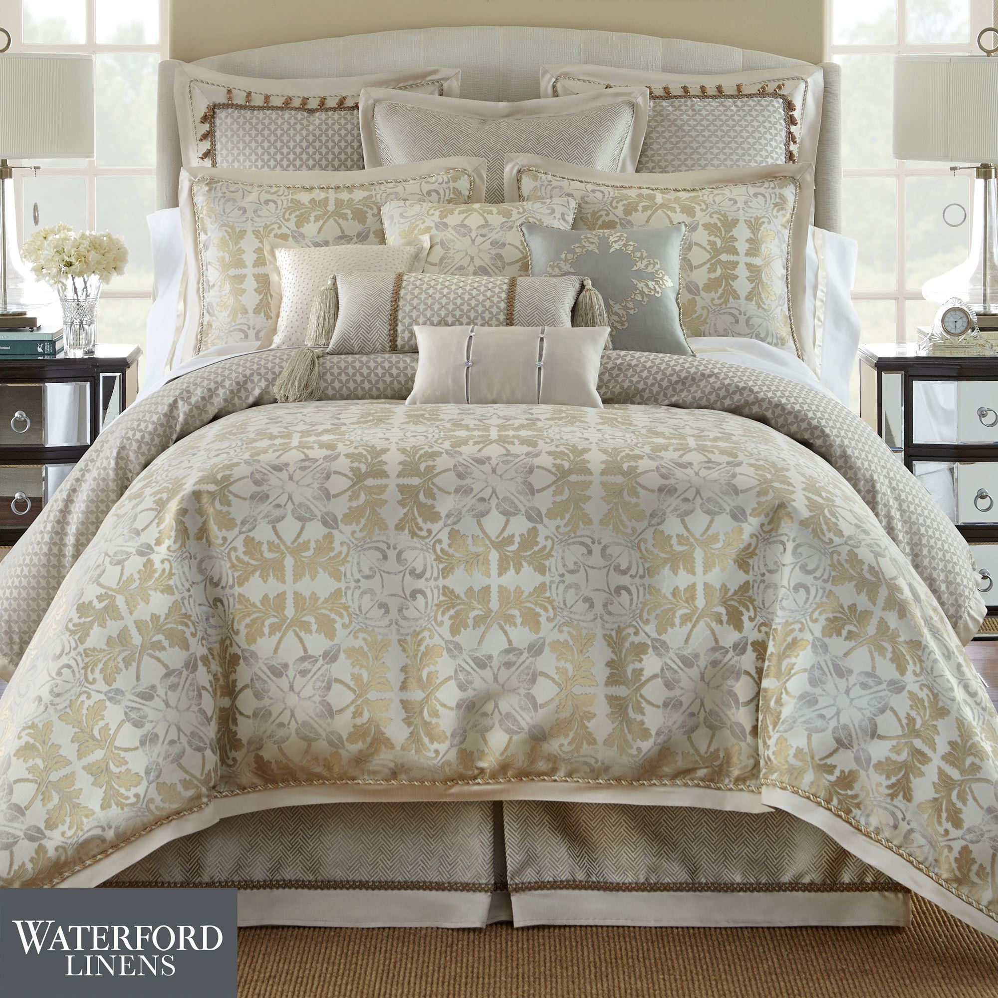 fairfield platinum from marquis set comforter by waterford bedding scroll p