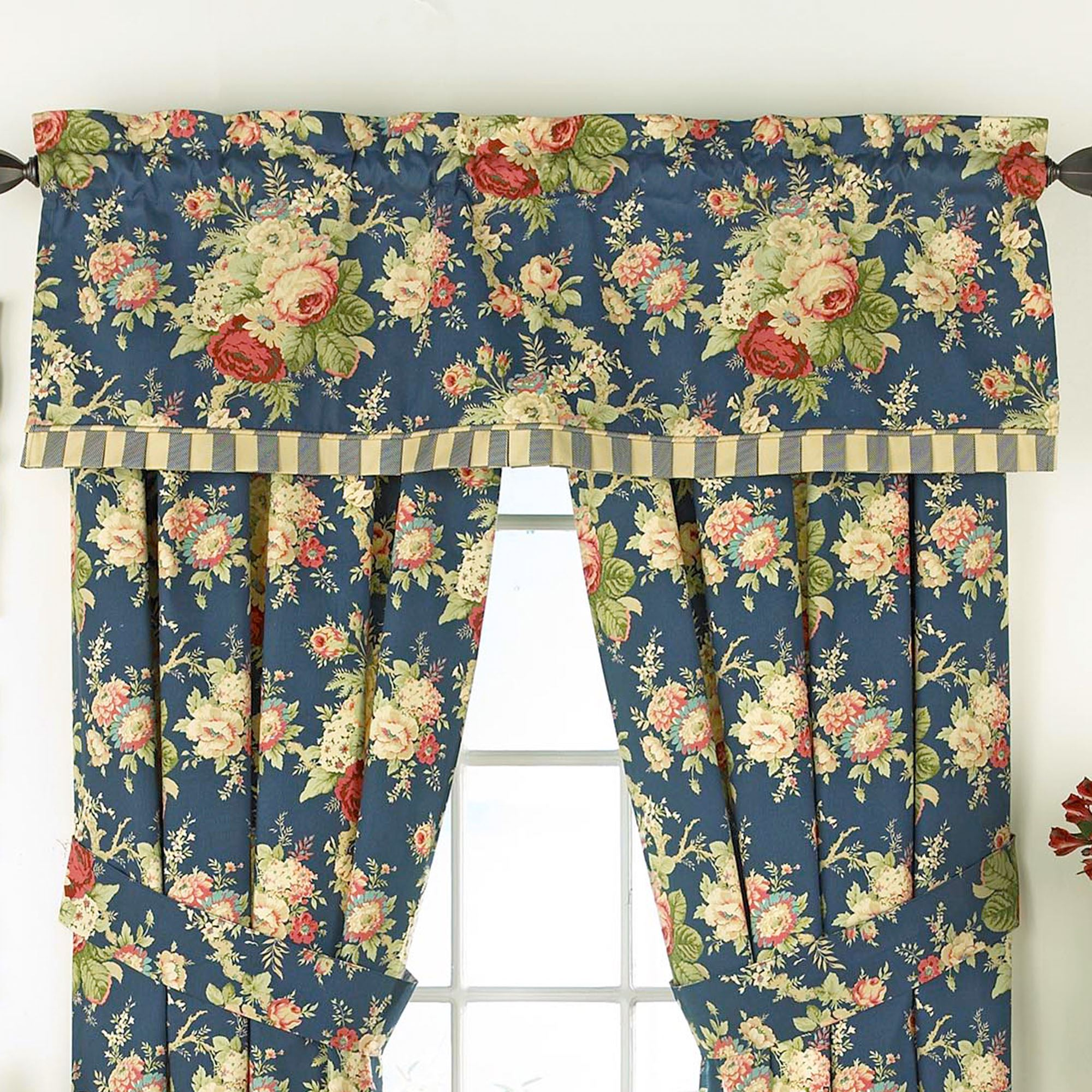 x set valances scalloped double norfolk p quilt rose cream floral valance by waverly