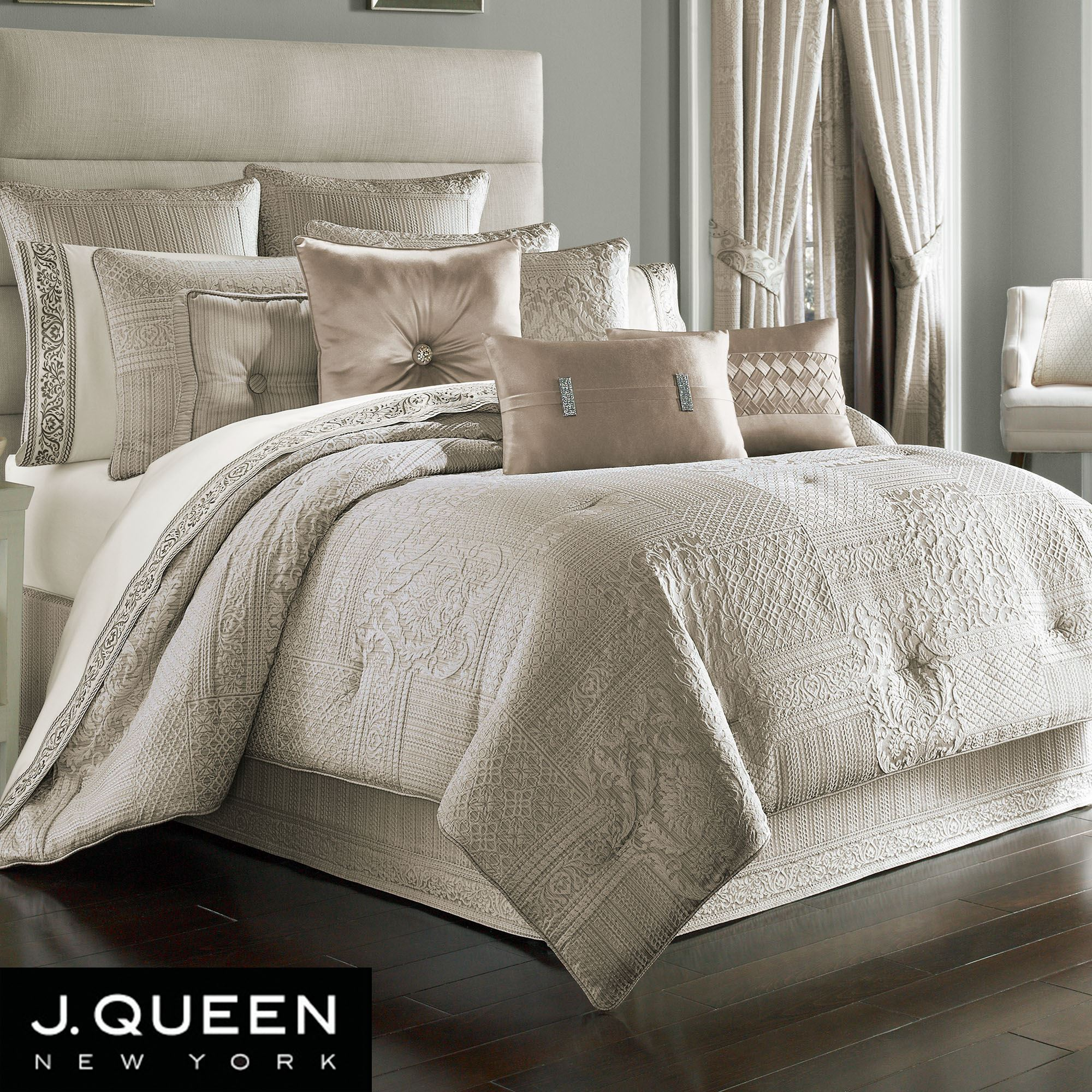 bedding queen corinna silver york pin comforter j by new