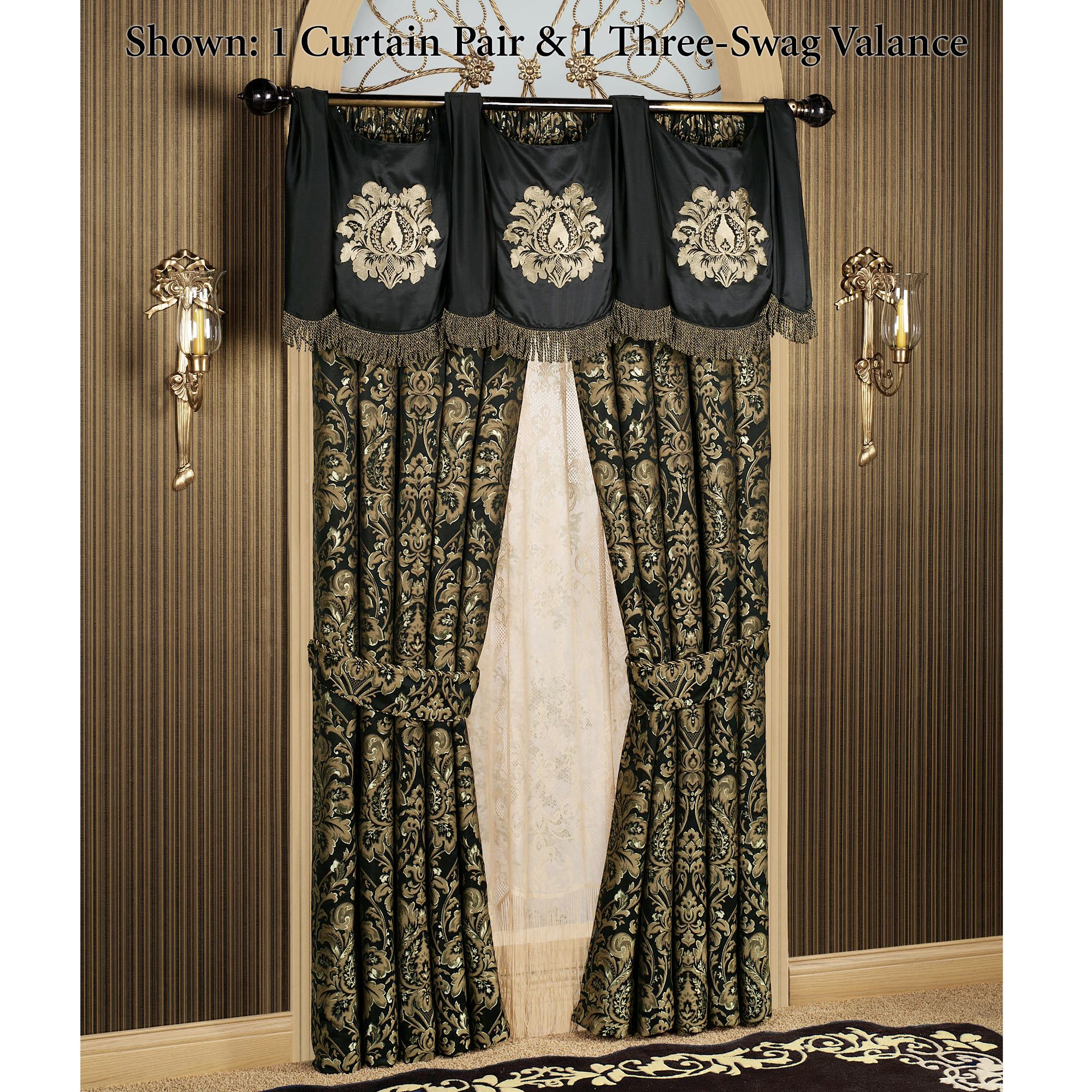 richmond and tier home set depot achim valance scarves window polyester curtains in valances n curtain black treatments b the