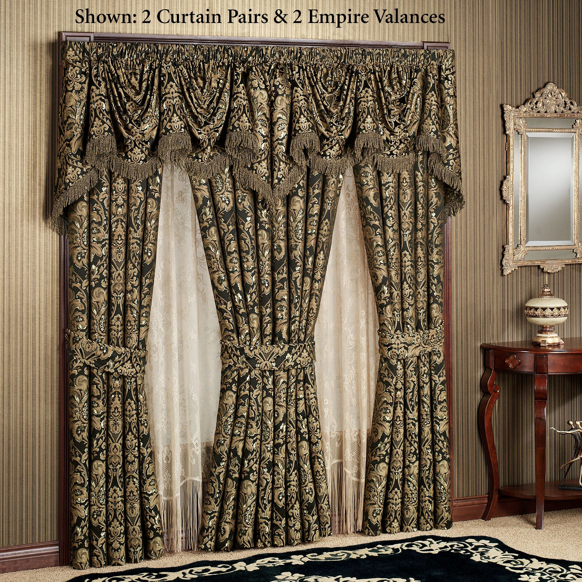 fabric black on curtain valance shower ruffled swag double set sale for curtains save