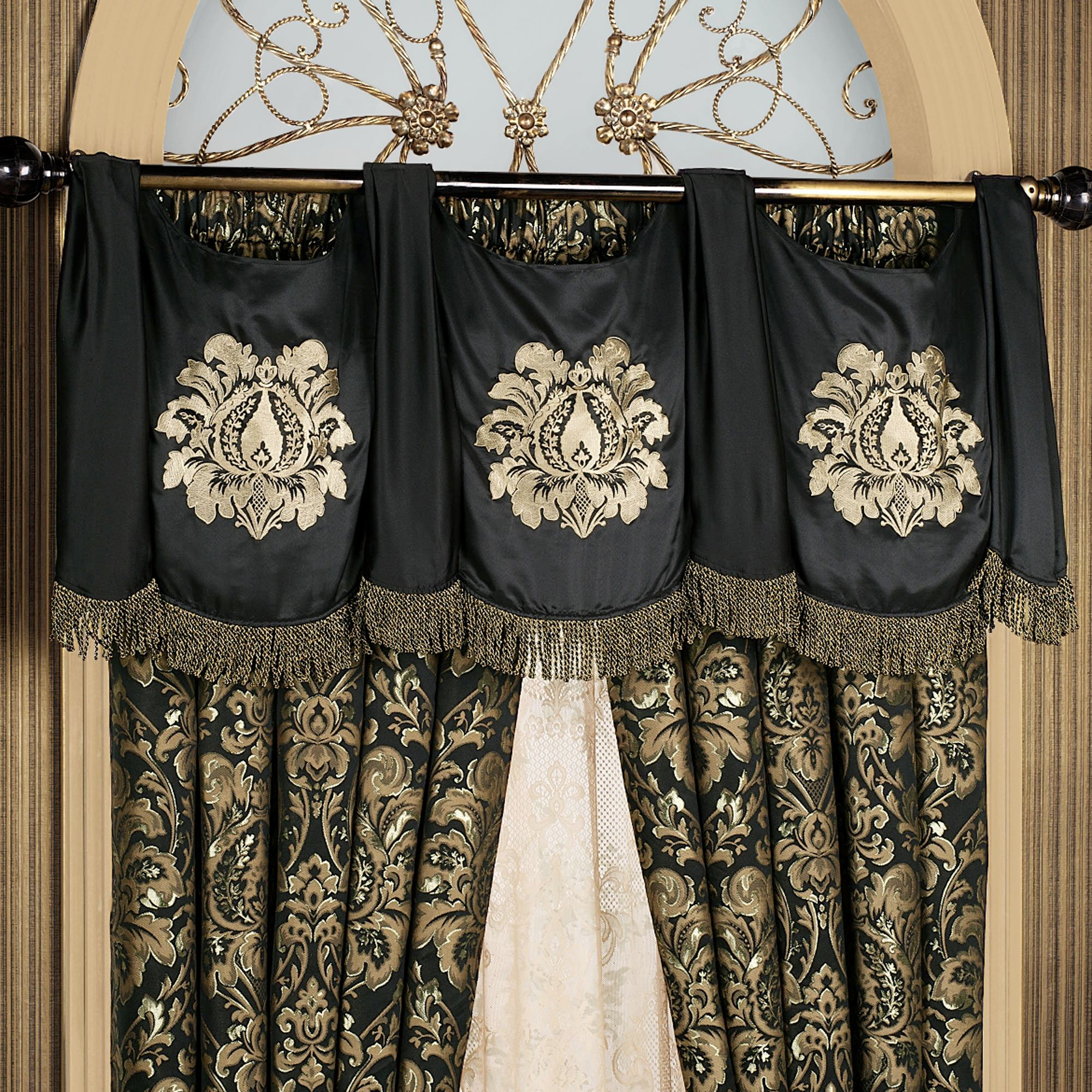 black ideas of and damask cream valance fantastic classic curtains curtain window with