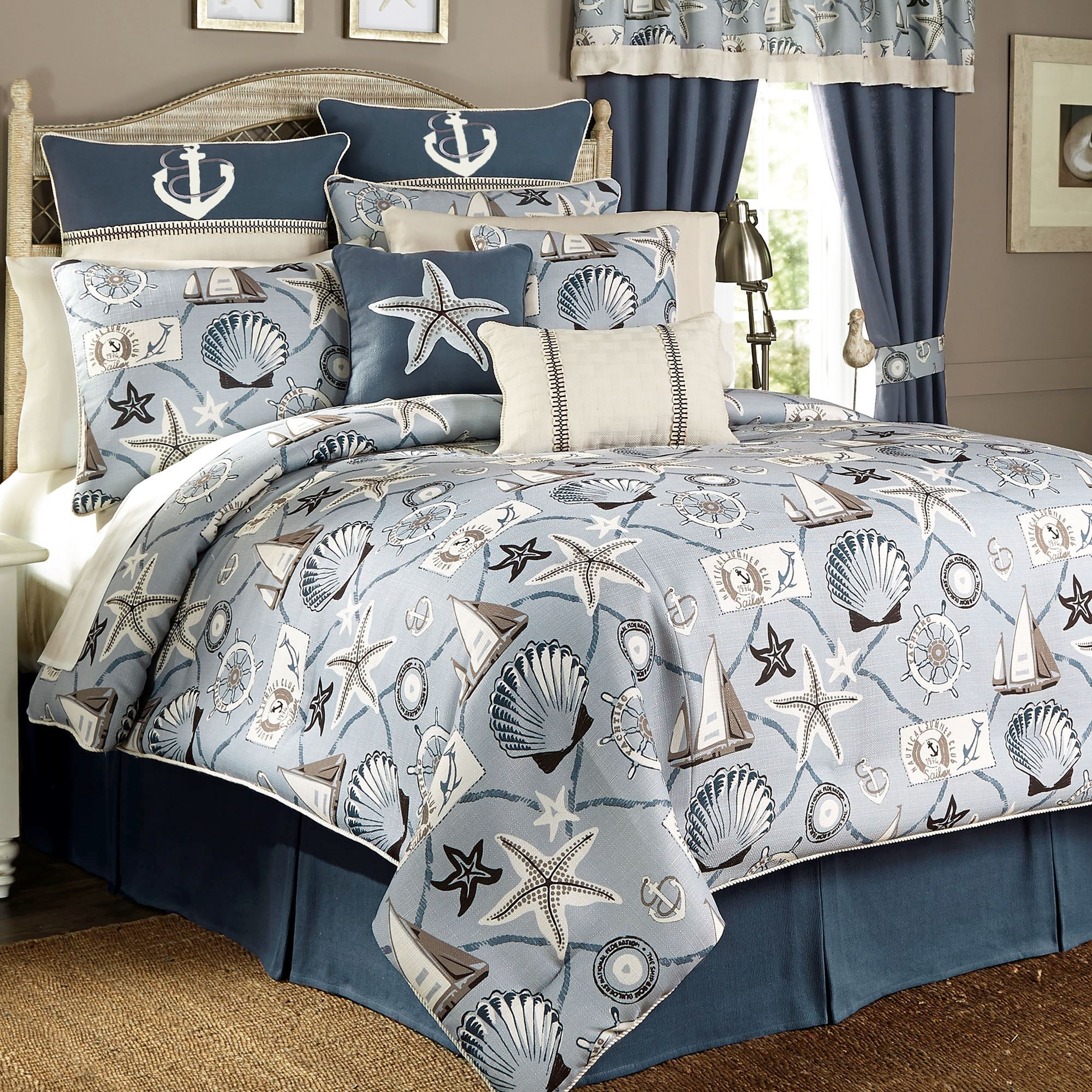 yachtsman comforter set celestial blue - Nautical Bedding