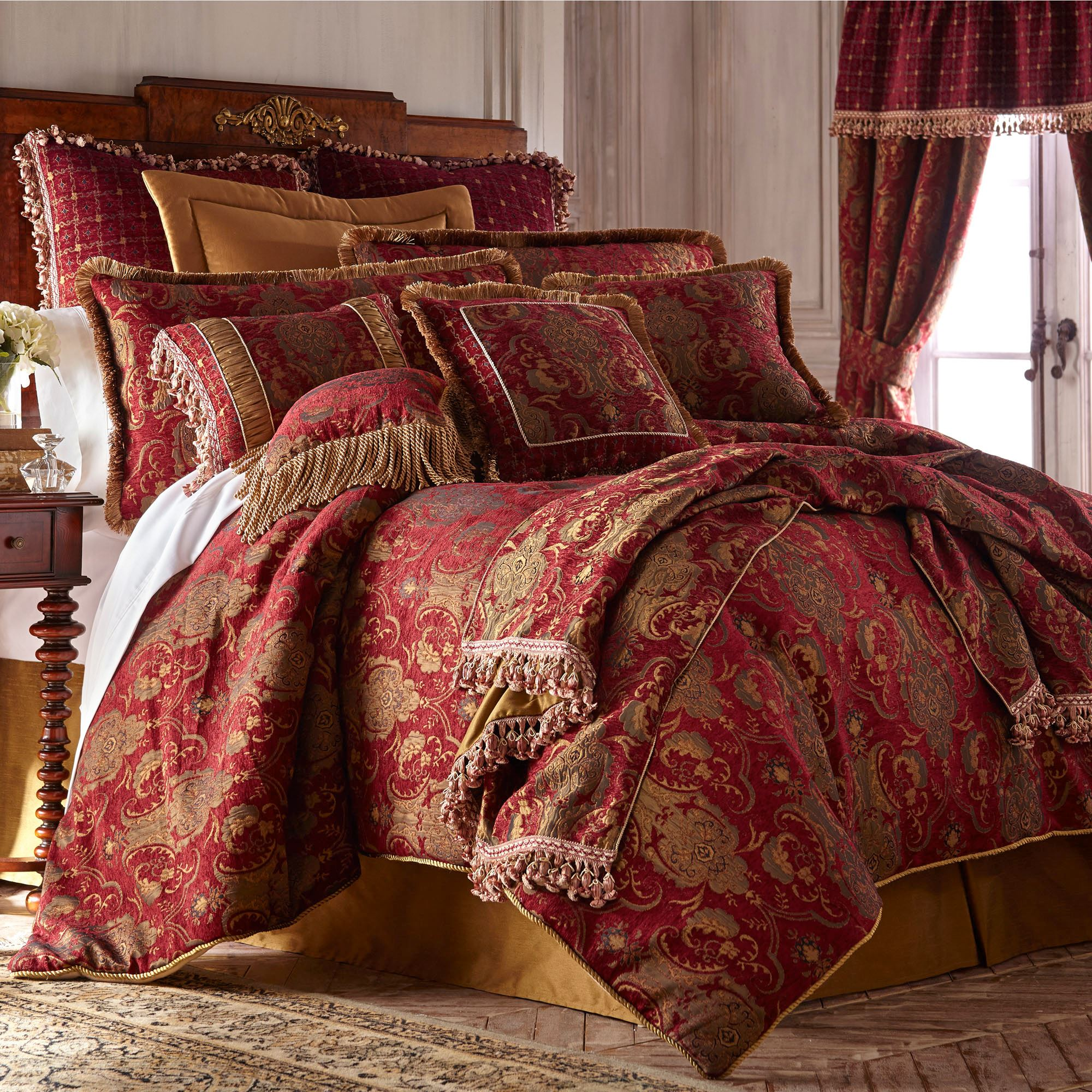 China Art Ruby Red Asian Inspired Comforter Bedding