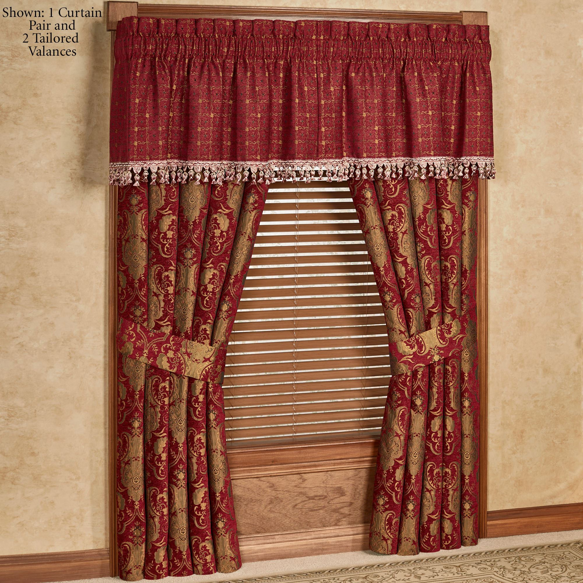 Red Window Curtain Panels Sale: China Art Ruby Red Asian Inspired Window Treatment