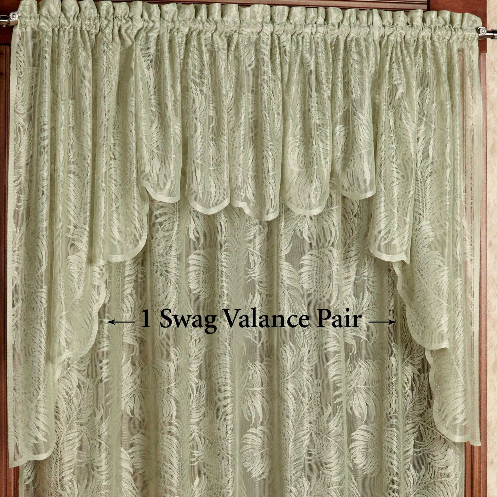 Greatest Palm Leaves Sage Lace Window Treatment PO94