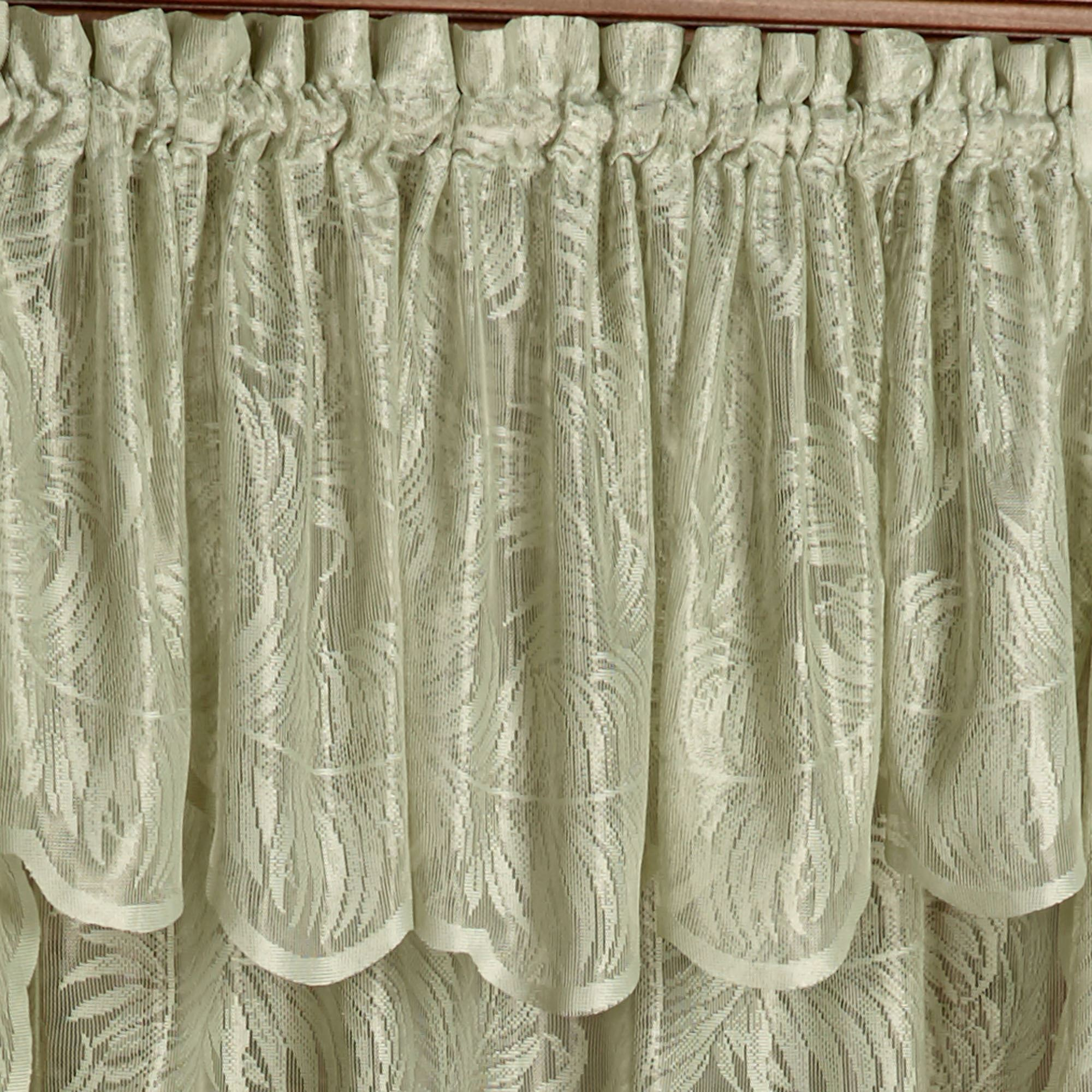 New Palm Leaves Sage Lace Window Treatment XE97