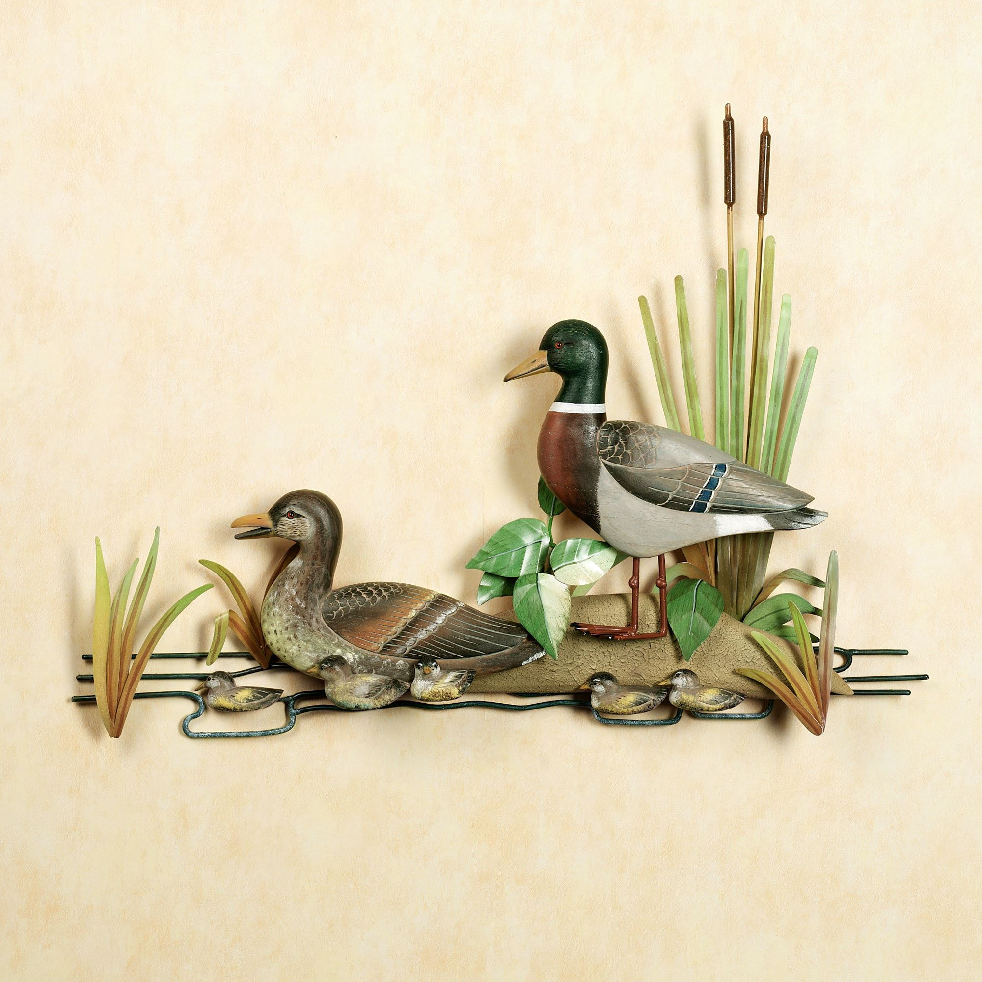 Mallard Family Metal Wall Sculpture