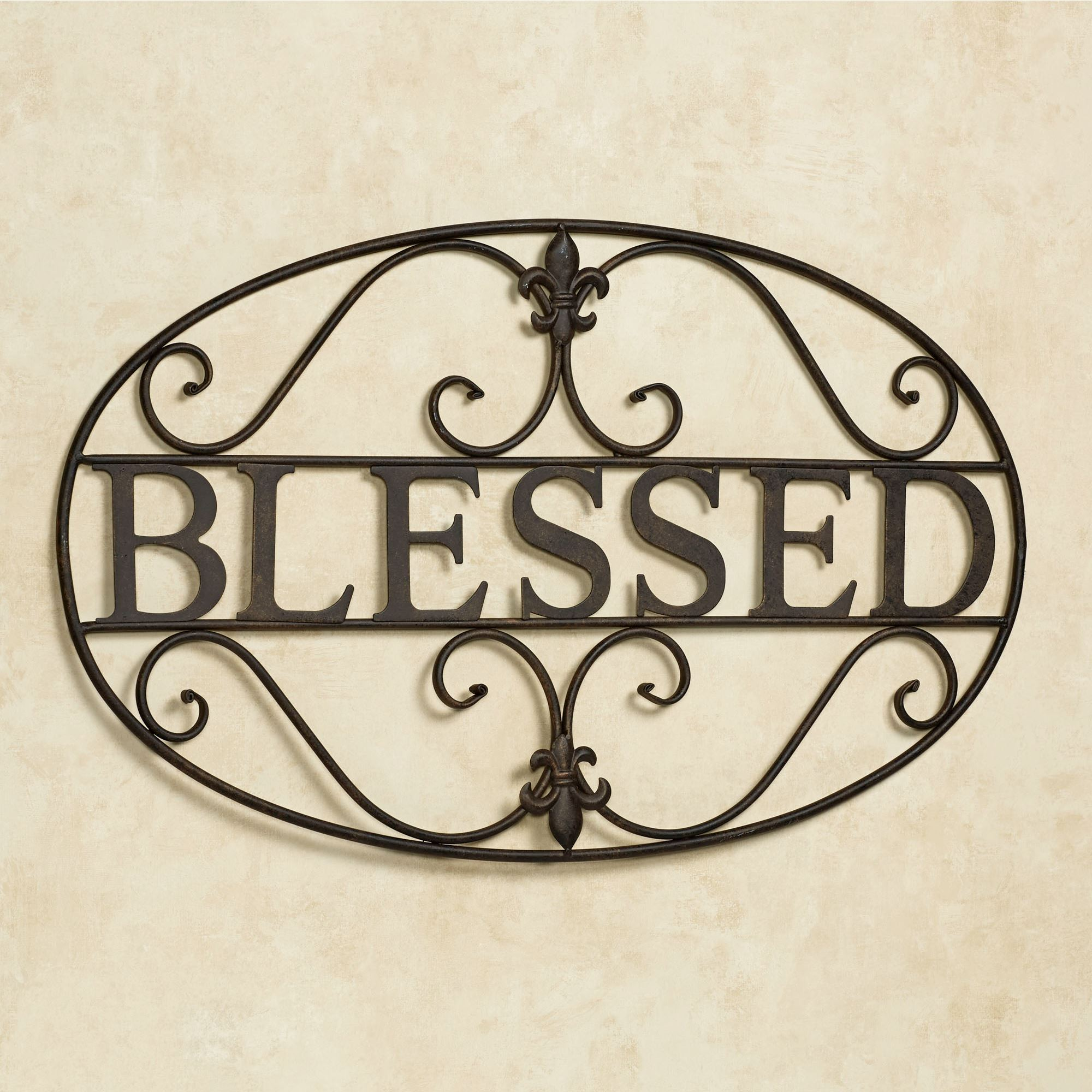 Blessed Fleur De Lis Metal Wall Art. Blessed Wall Art Aged Bronze. Click To  Expand