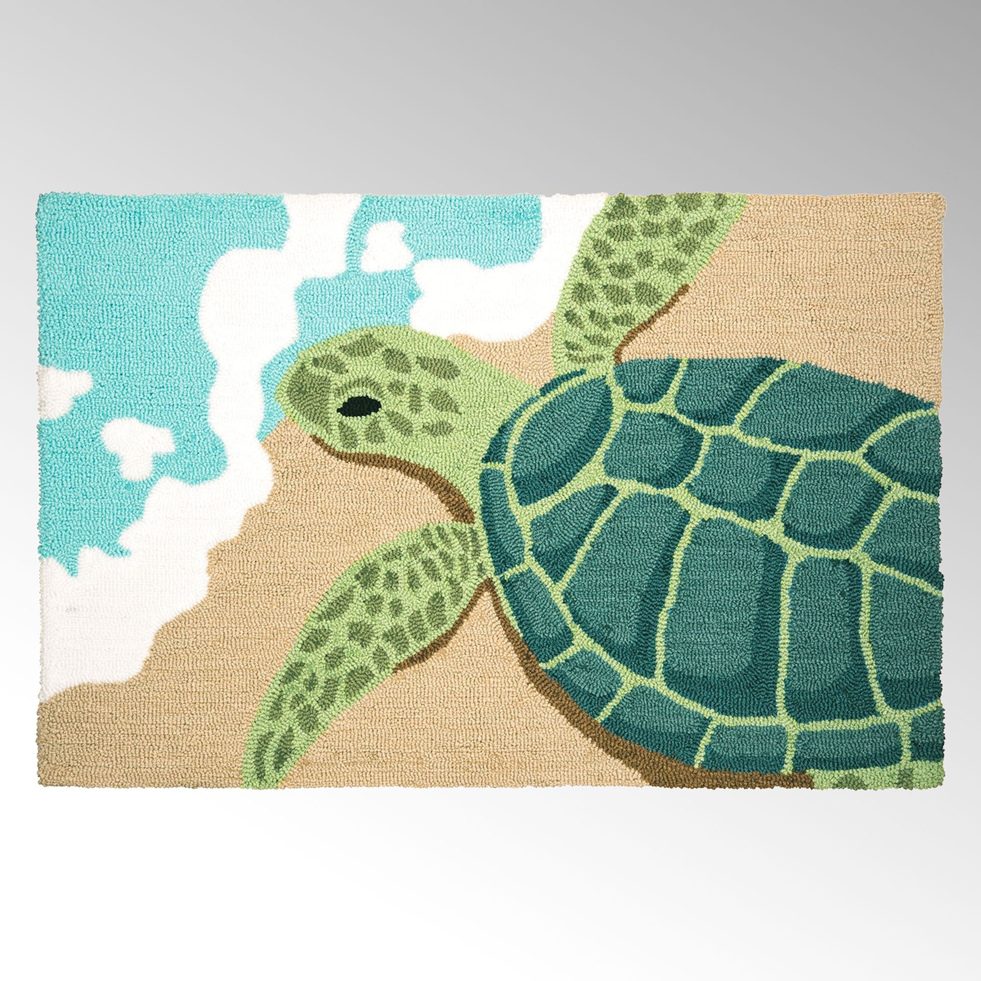 Turtle Waves Hooked Accent Rug
