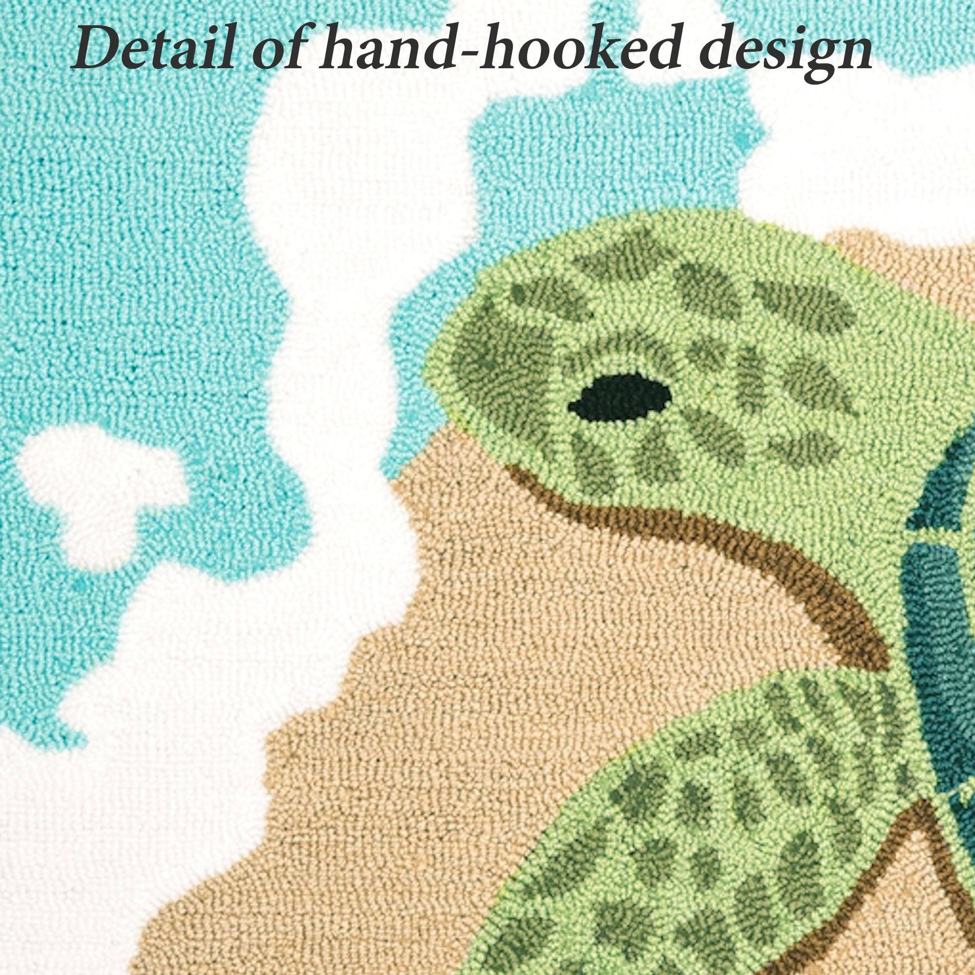 Sea Life Turtle Wave Rug2 Bath Mat: Turtle Waves Hooked Accent Rug
