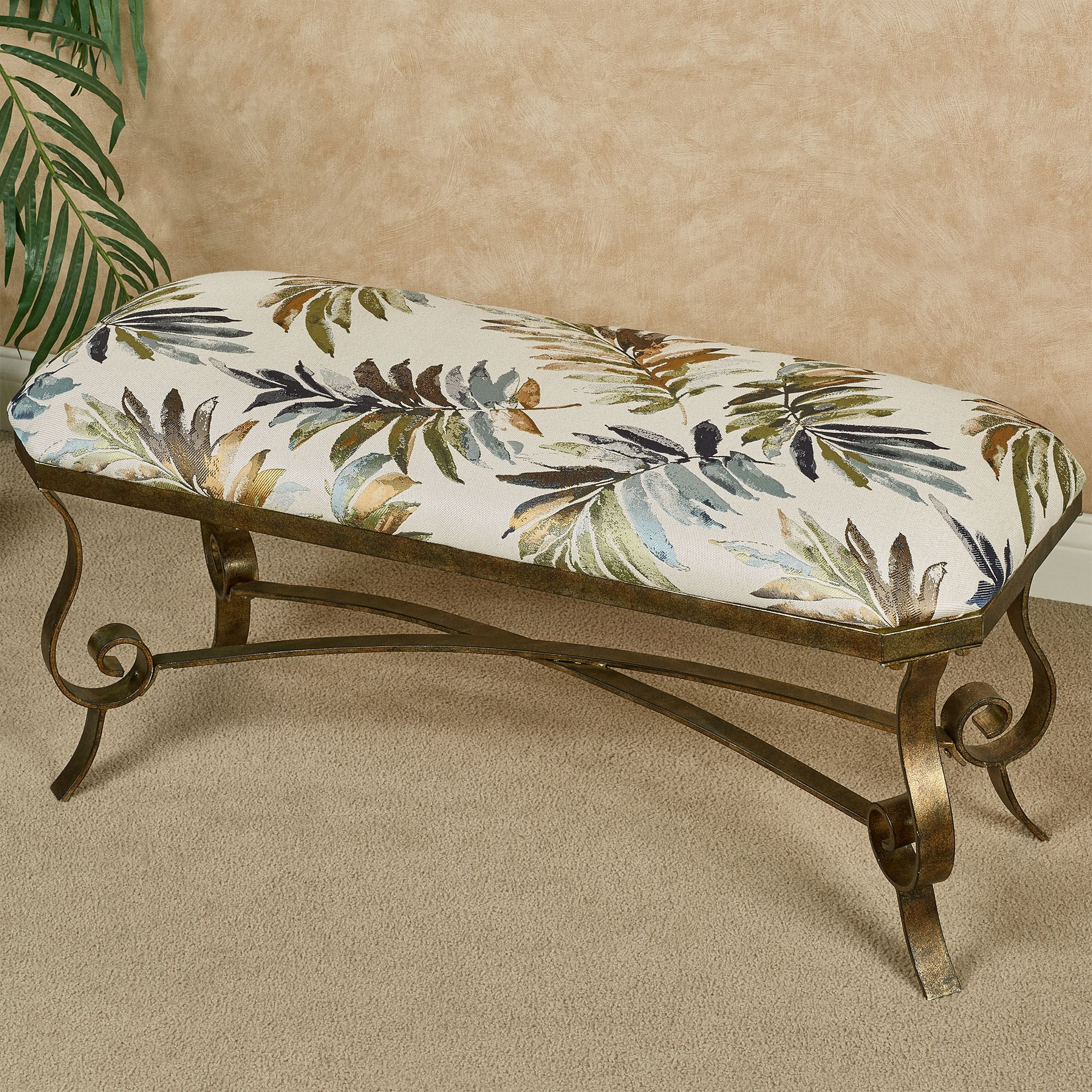 Palm Breeze Tropical Leaf Upholstered Bench