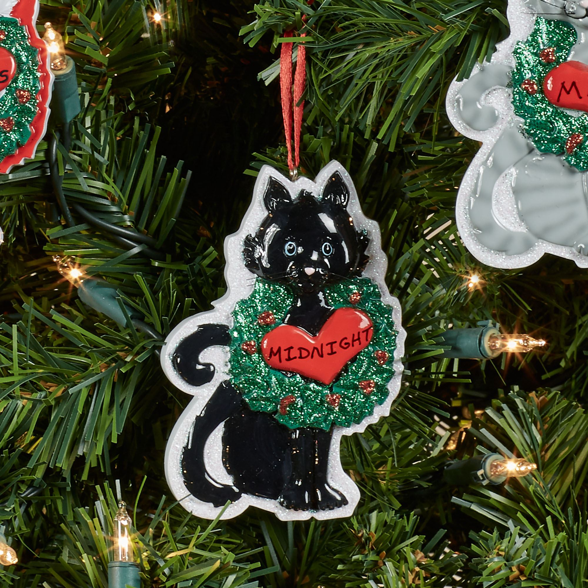 black cat holiday ornament multi warm