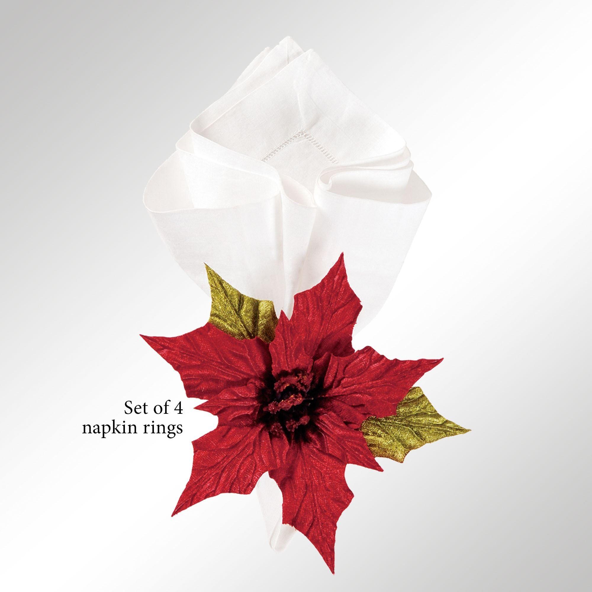 Poinsettia Flower Holiday Napkin Ring Set Of 4