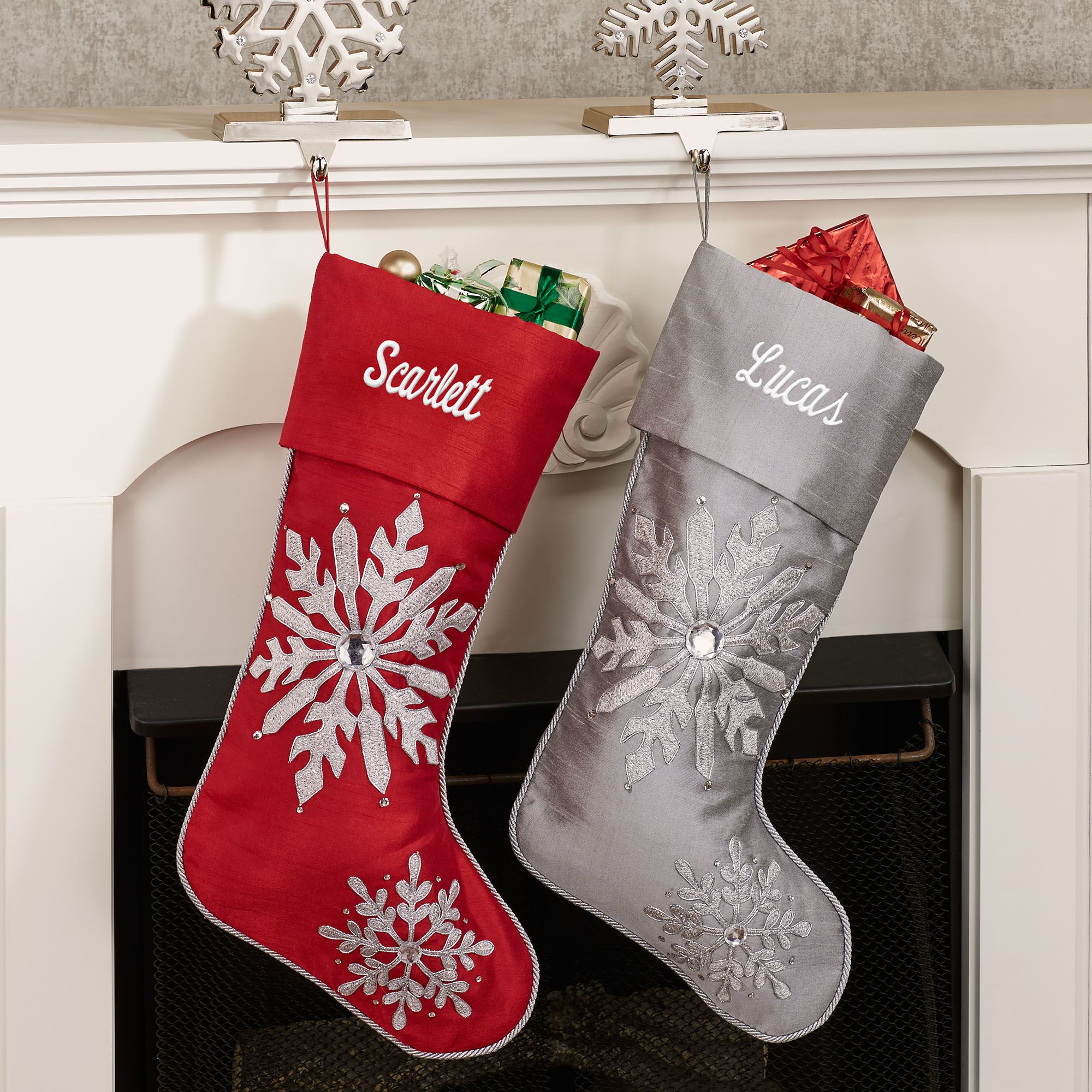 Winter Frost Jeweled Embroidered Snowflake Christmas Stockings