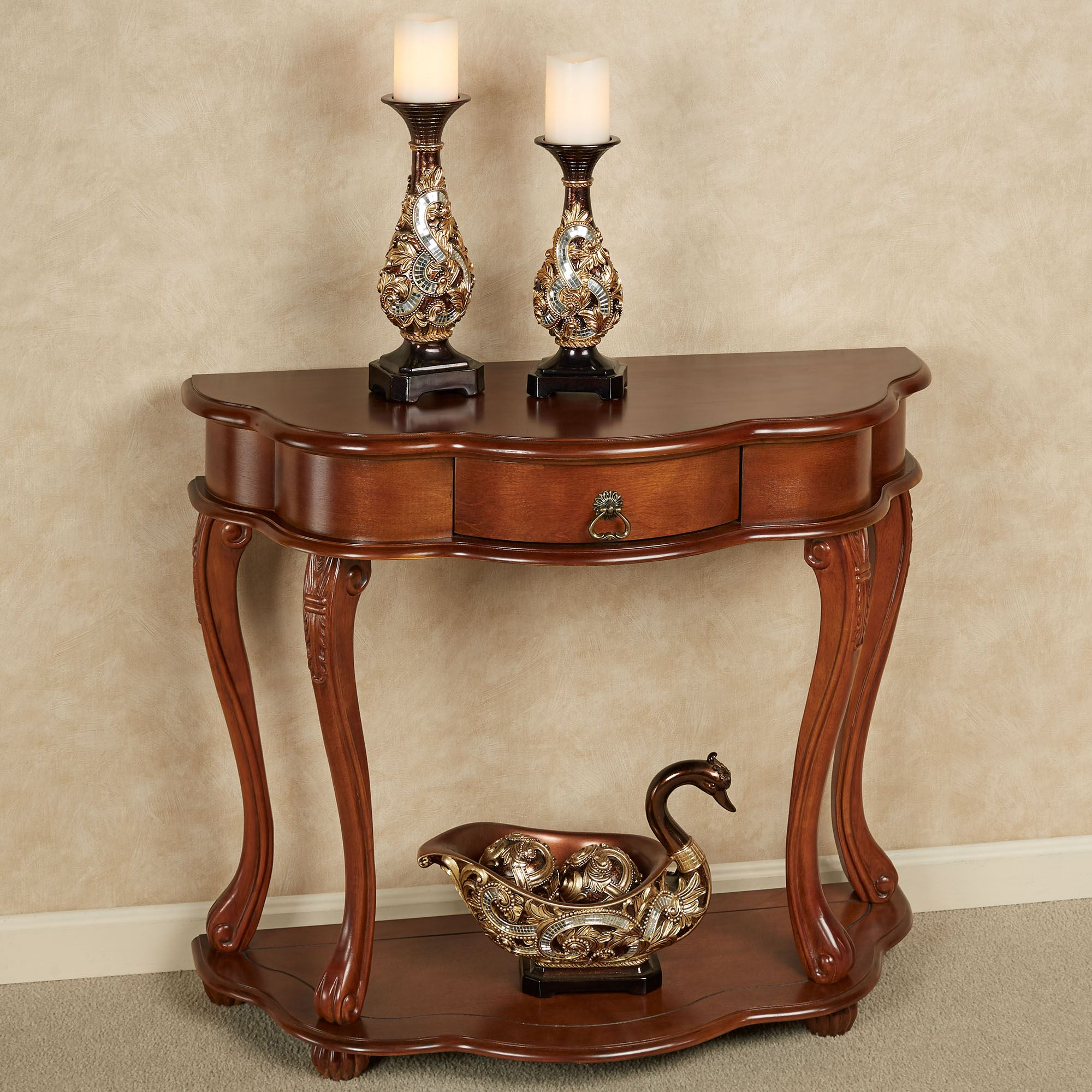 Eudora Console Table Natural Cherry. Touch To Zoom