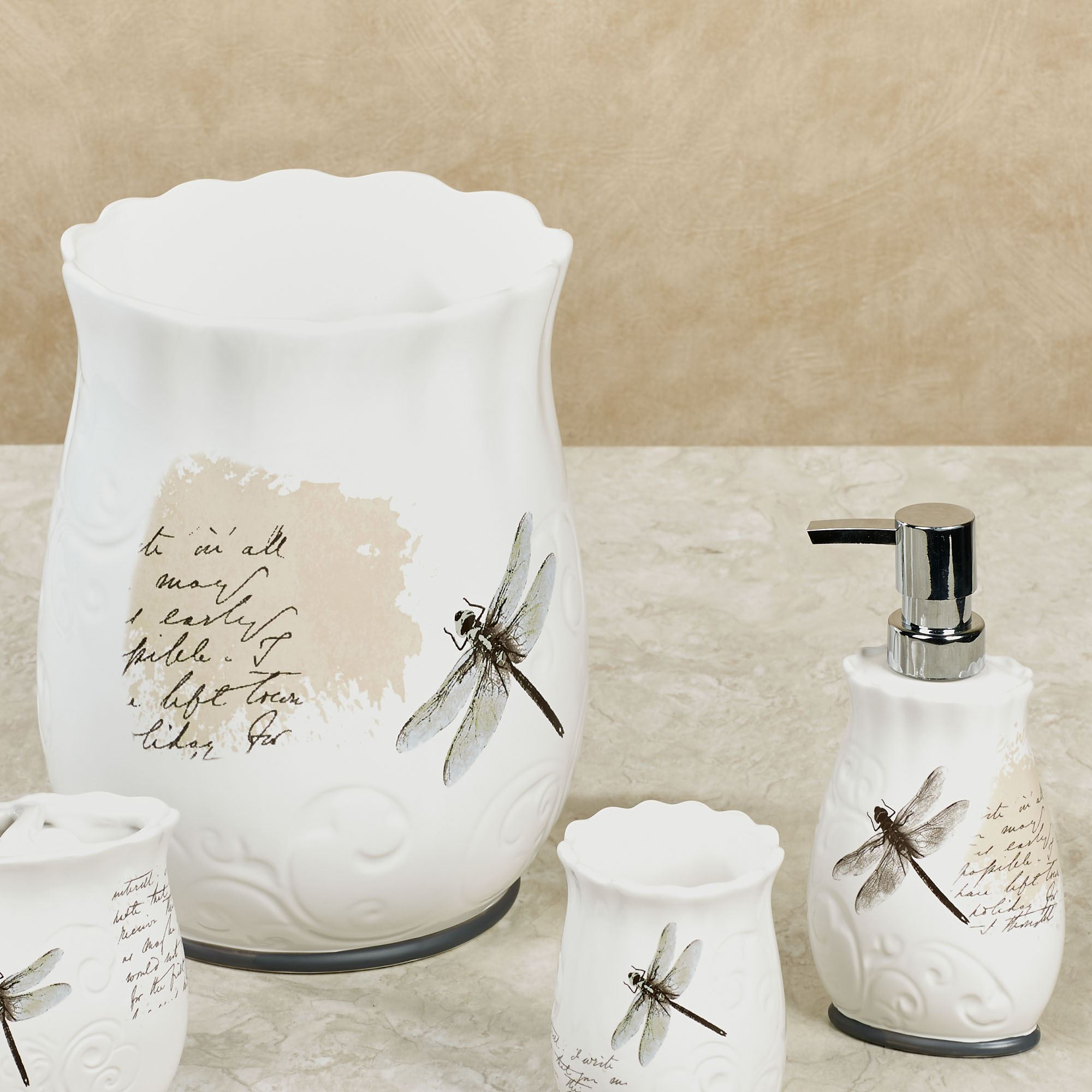 Dragonfly Ceramic Bath Accessories