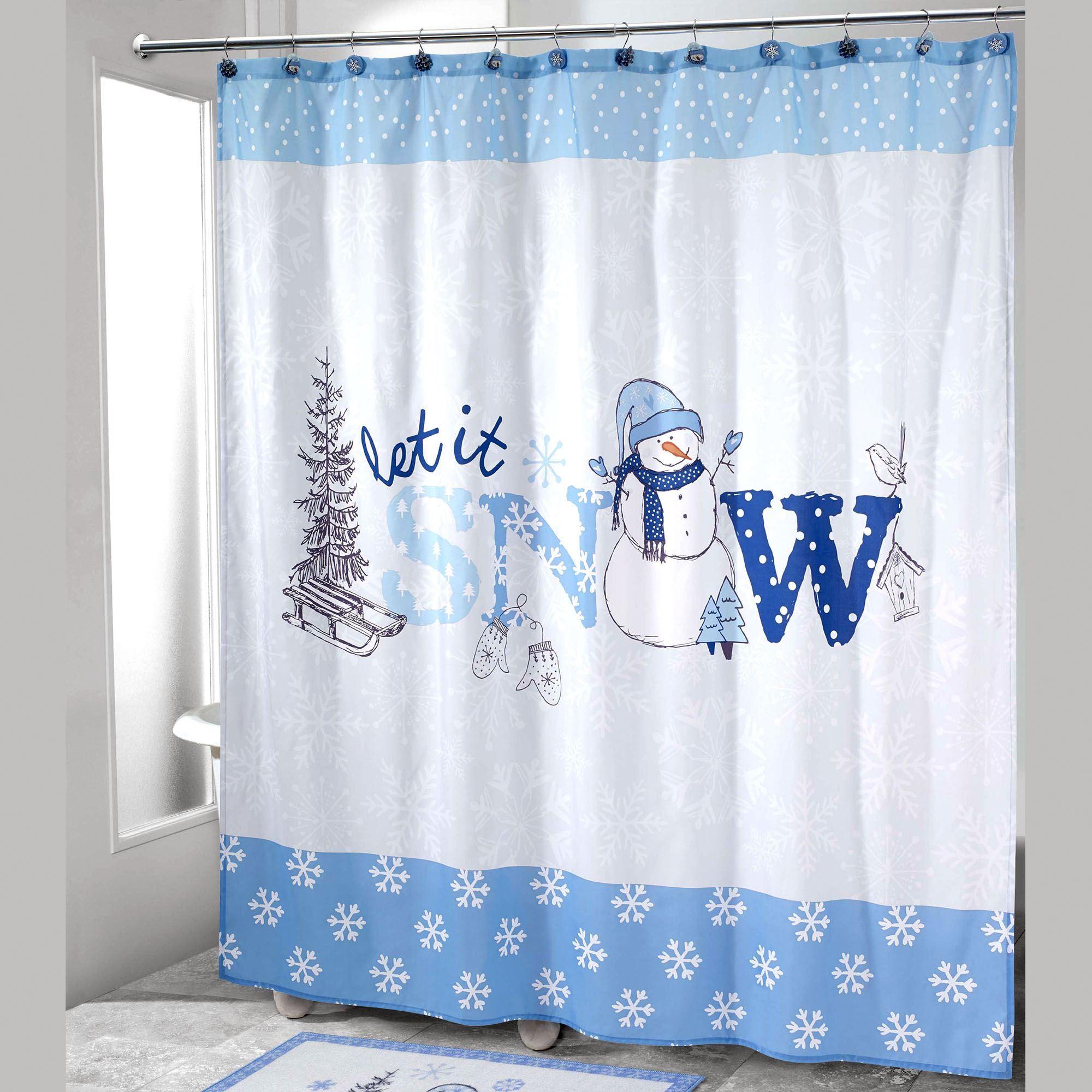 Let It Snow Snowman Shower Curtain Blue 72 X