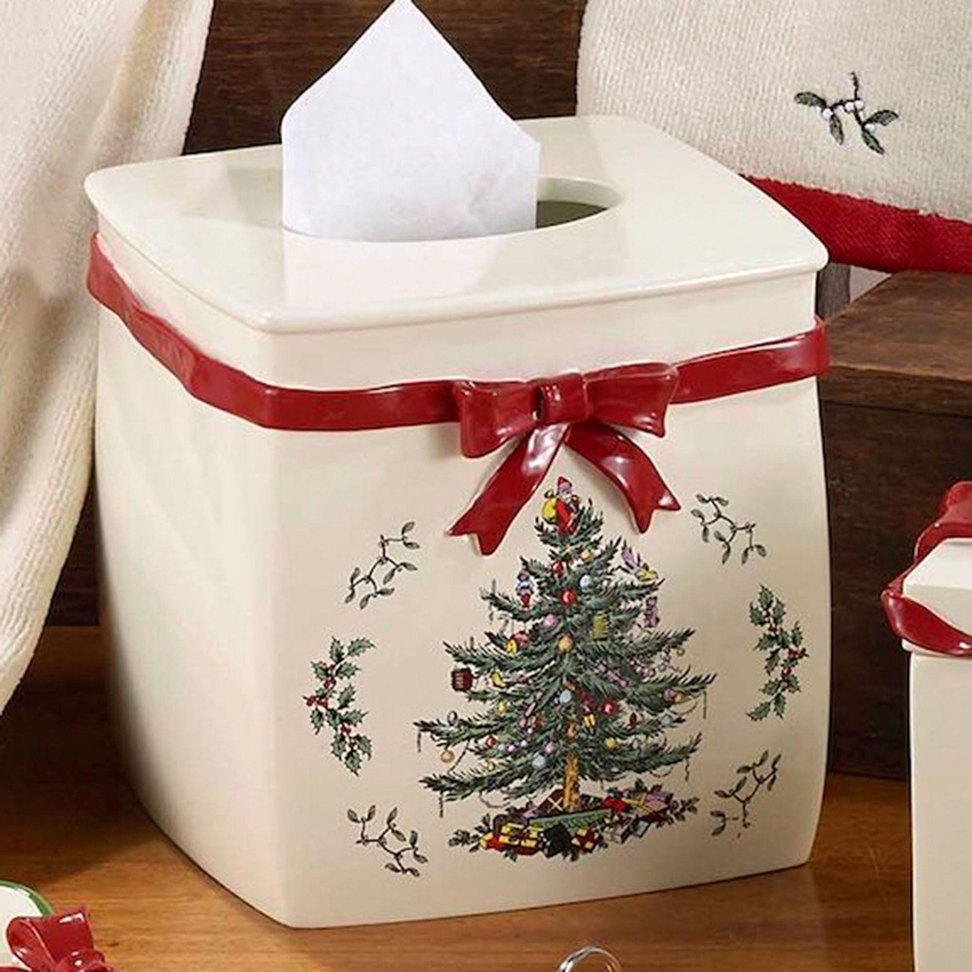 Spode Christmas Tissue Cover Light Cream