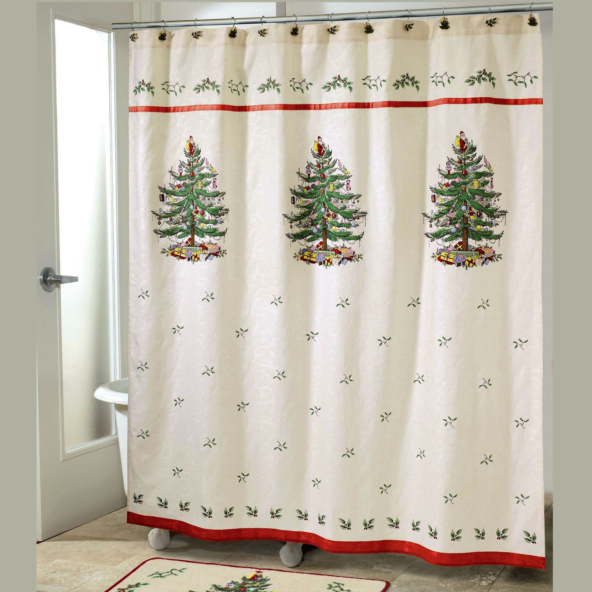 Christmas Shower Curtain.Spode Christmas Tree Shower Curtain