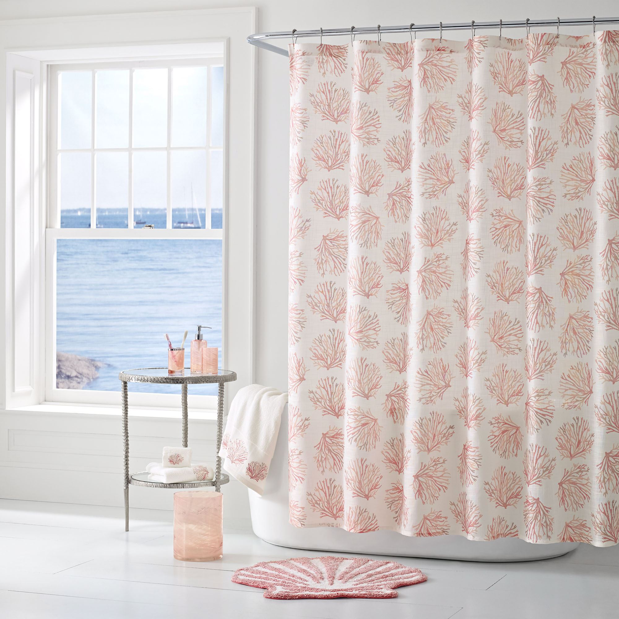 Coral Reef Semi Sheer Coastal Shower Curtain By J Queen New York