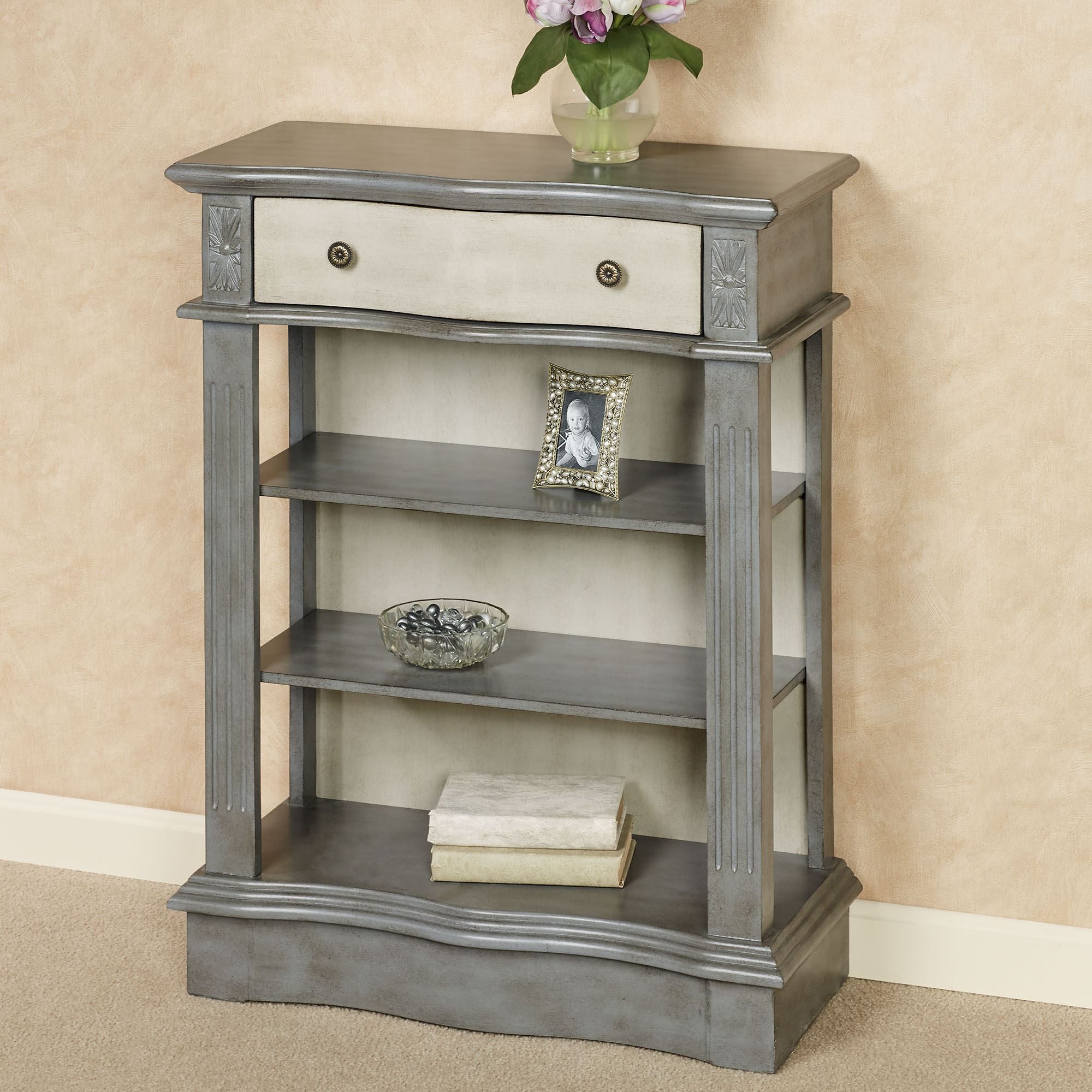 Factory Seconds Kitchen Cabinets: Cody Gray Open Shelf Storage Accent Cabinet
