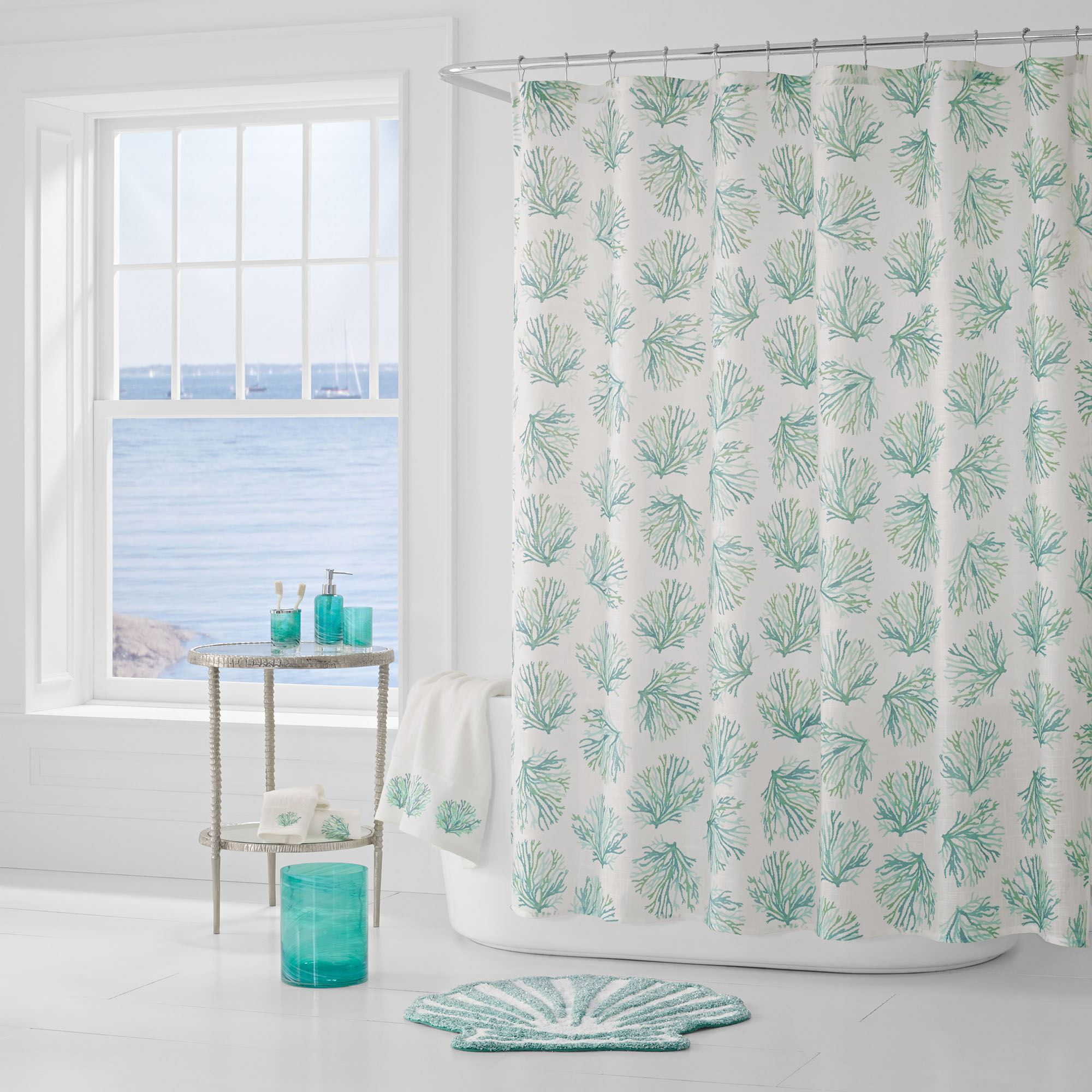 Coral Reef II Semi Sheer Shower Curtain Teal 72 X Touch To Zoom