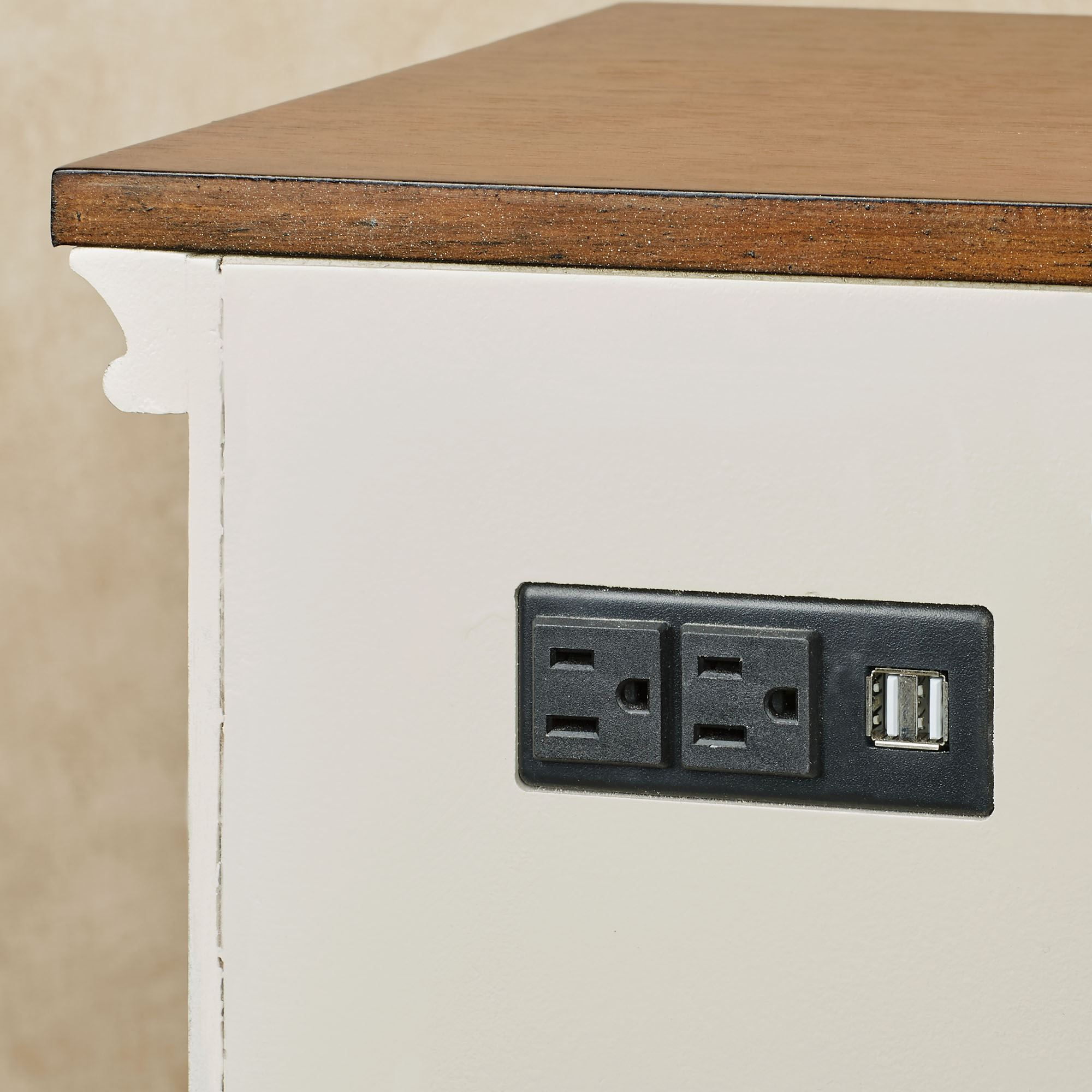 Orion Wooden Storage Cabinet With Usb Ports And Outlets