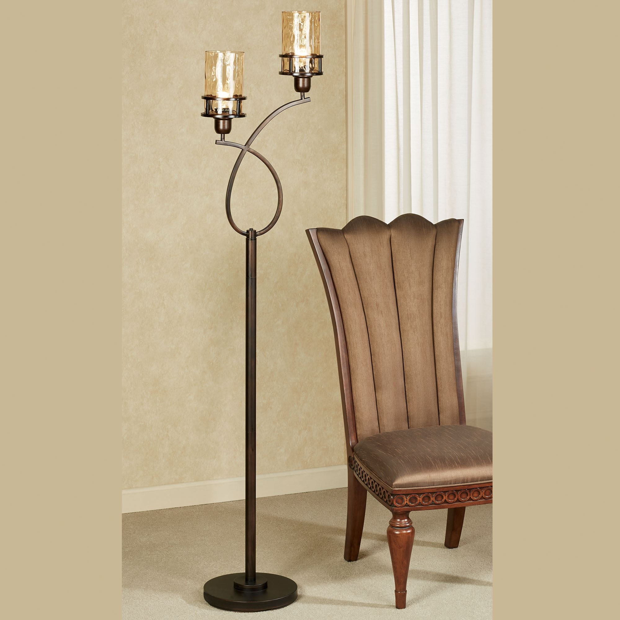 Image of: Perry Bronze Metal Uplight Floor Lamp With Edison Bulbs