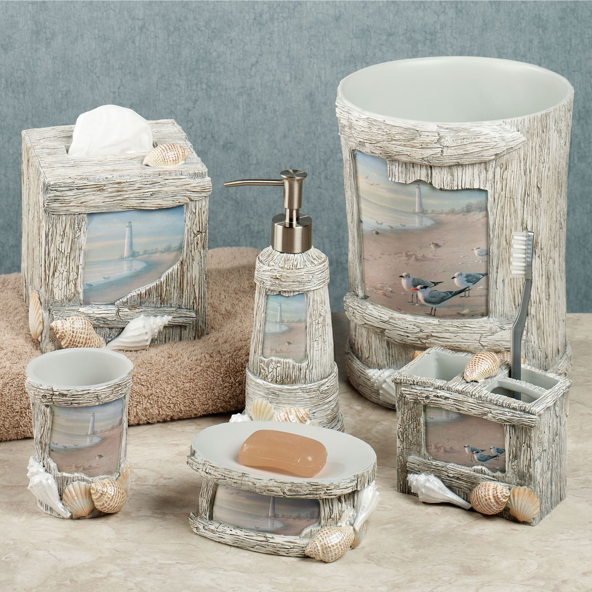 At the beach bath accessories for Seashell bathroom accessories
