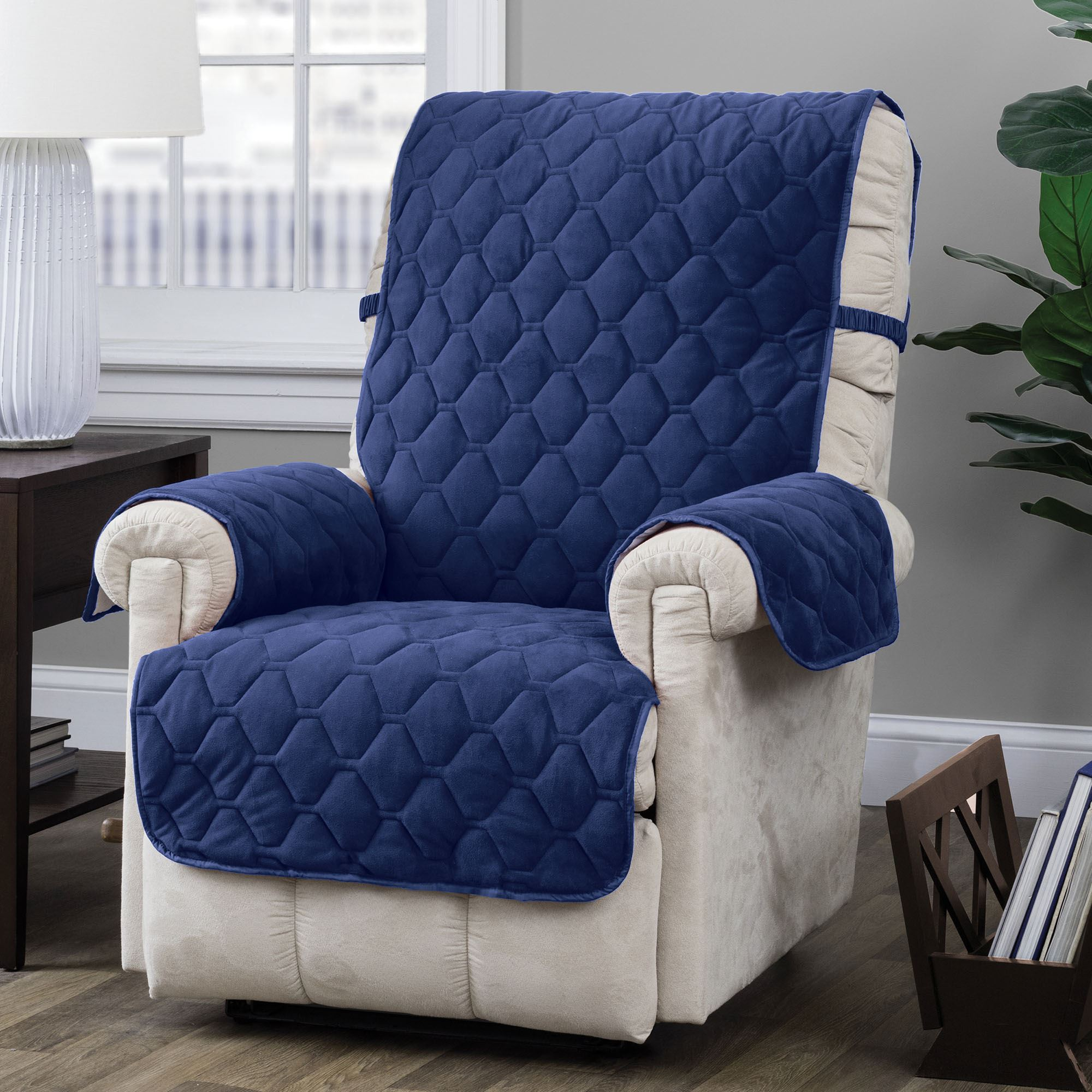 Geo Regal Blue Quilted Furniture Protectors With Tuck