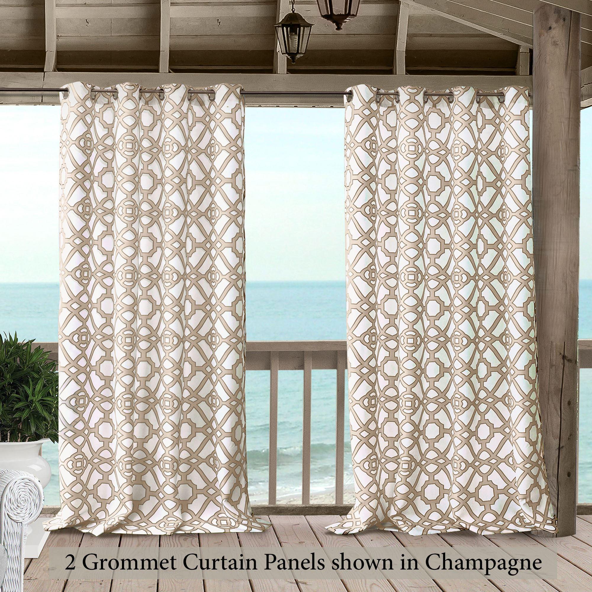 Brooklyn Geometric Indoor Outdoor Grommet Curtain Panel