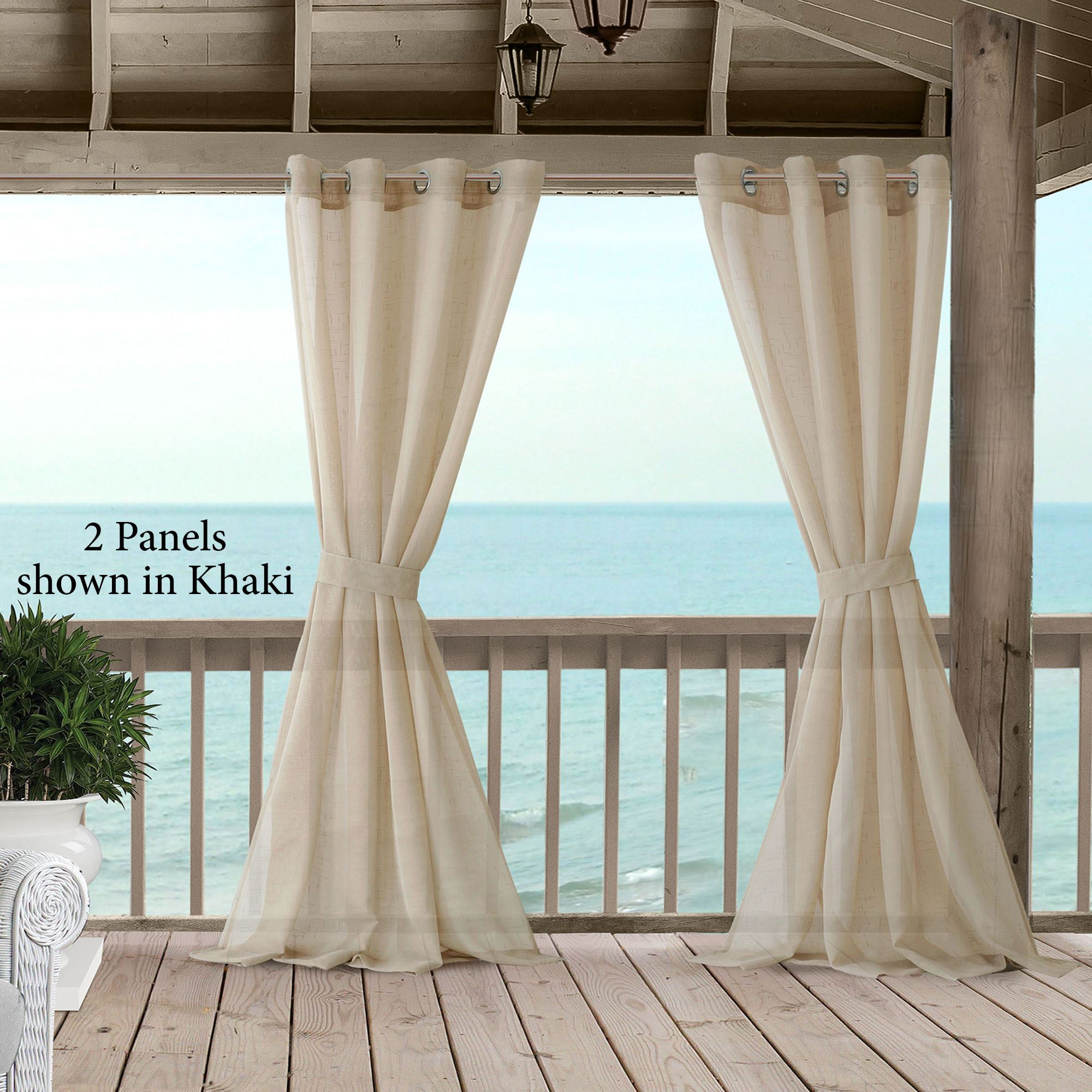 Tara Sheer Indoor Outdoor Grommet Curtain Panel