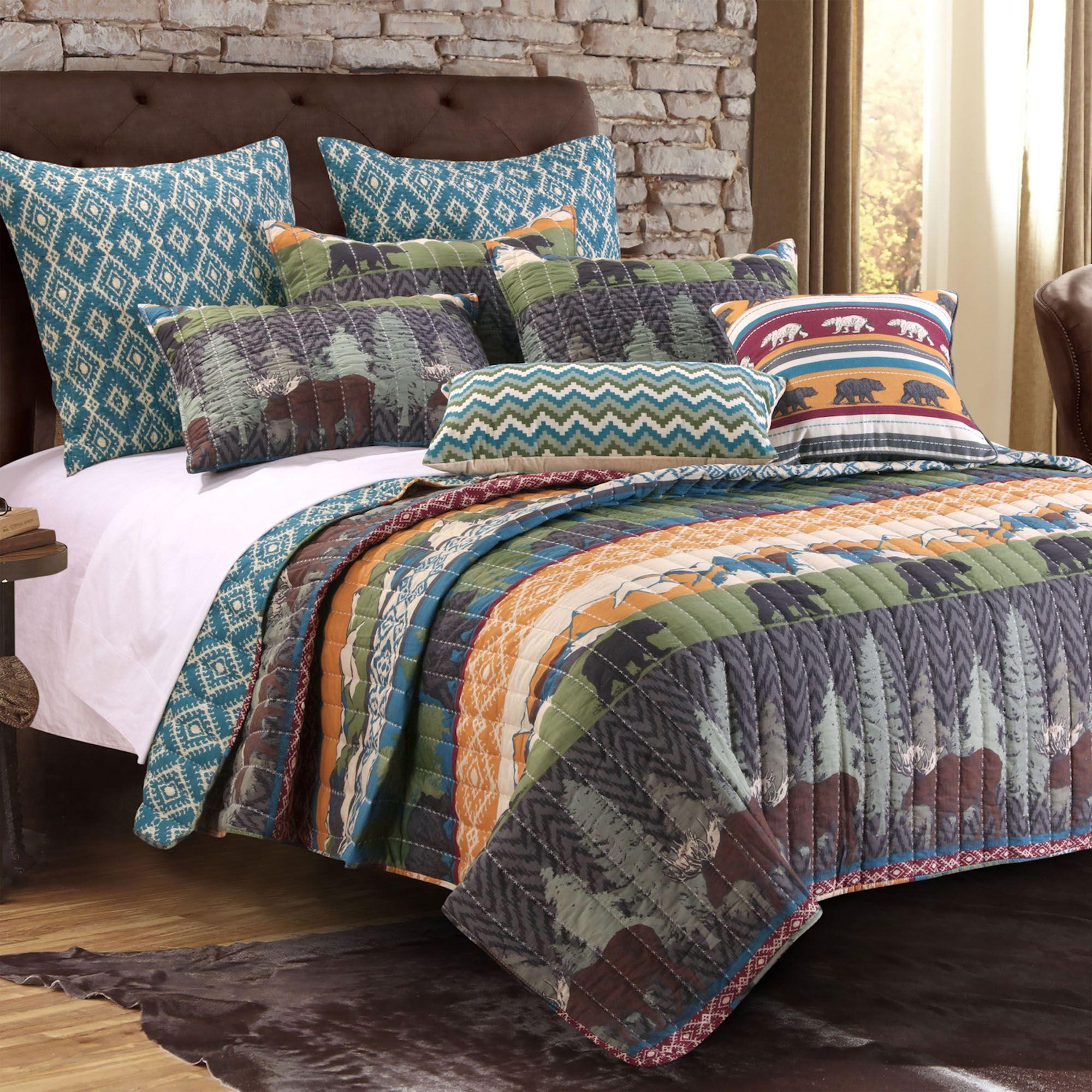 Black Bear Lodge Rustic 4 5 Pc Quilt Bed Set