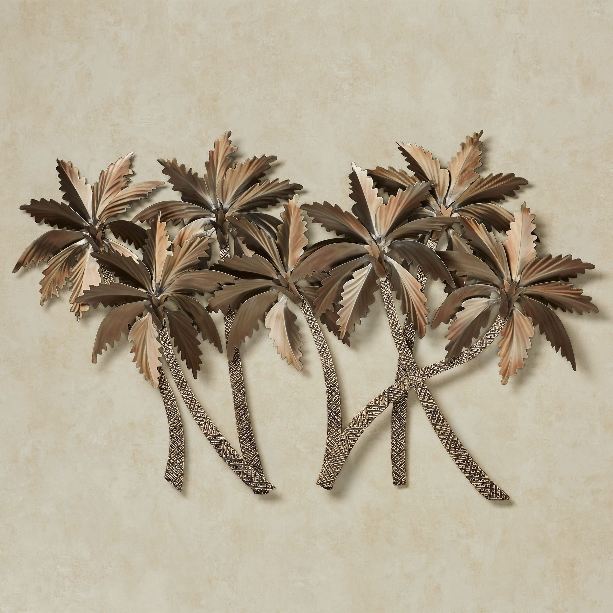 Tropical palm grove metal wall sculpture for Bronze wall art