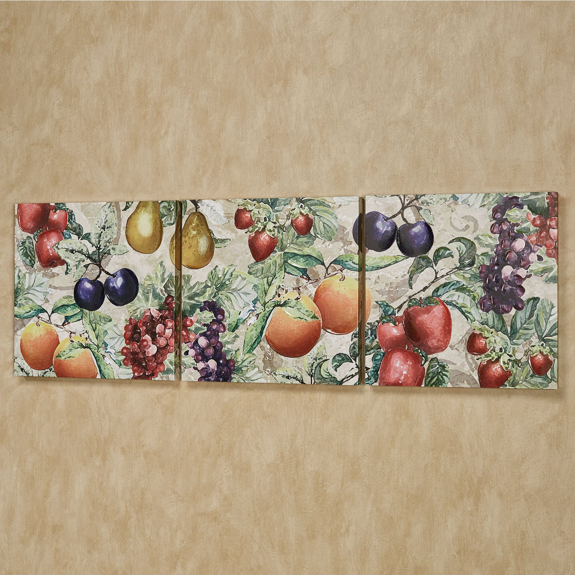 Natures Bounty Fruit Canvas Triptych Wall Art Set