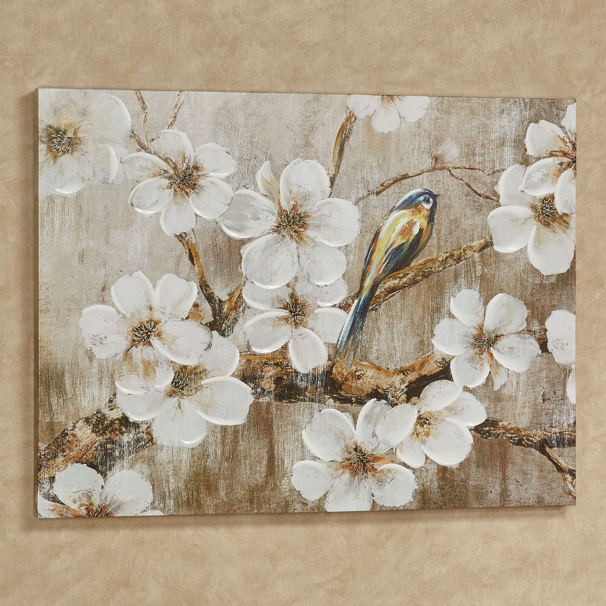 Just Thinking Bird And Flowers Canvas Wall Art