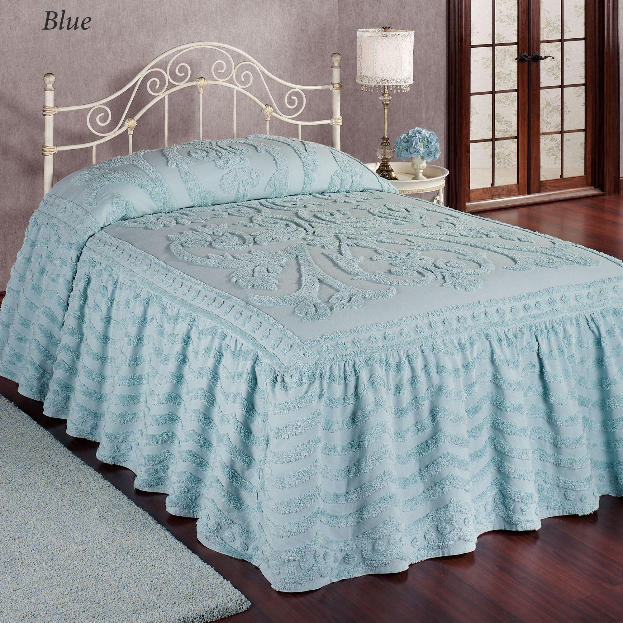 Allure Chenille Ruffled Flounce Oversized Bedspread Bedding