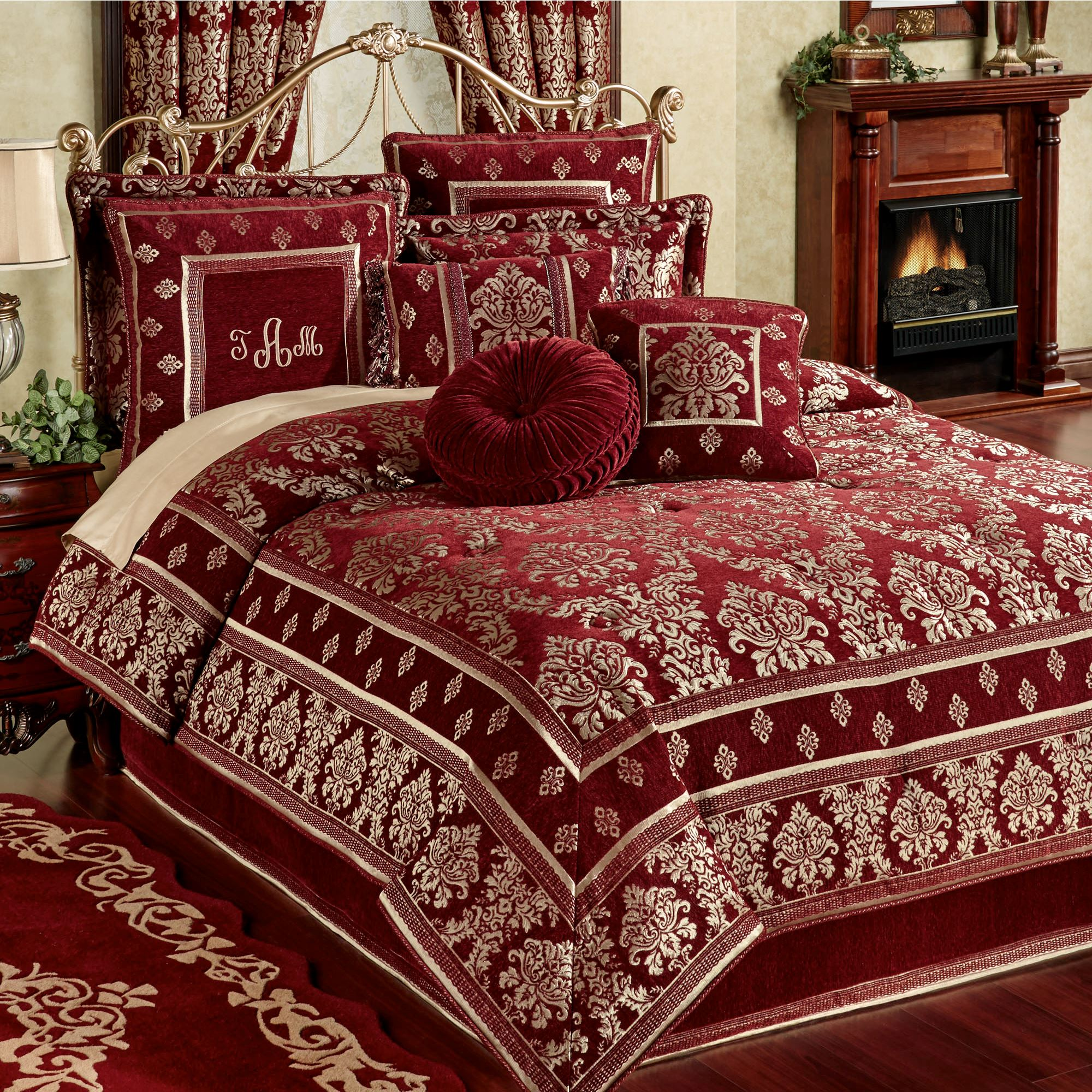 Dynasty Damask Merlot Comforter Bedding