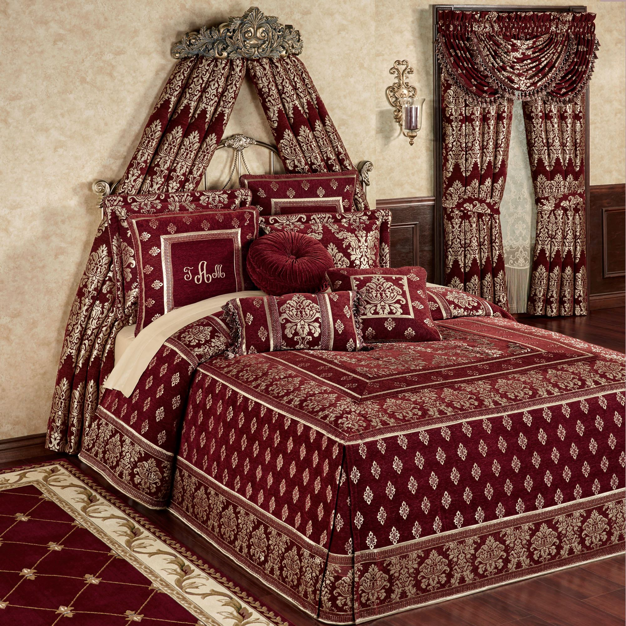 Dynasty damask merlot fitted oversized bedspread bedding for Matching bedroom and bathroom sets