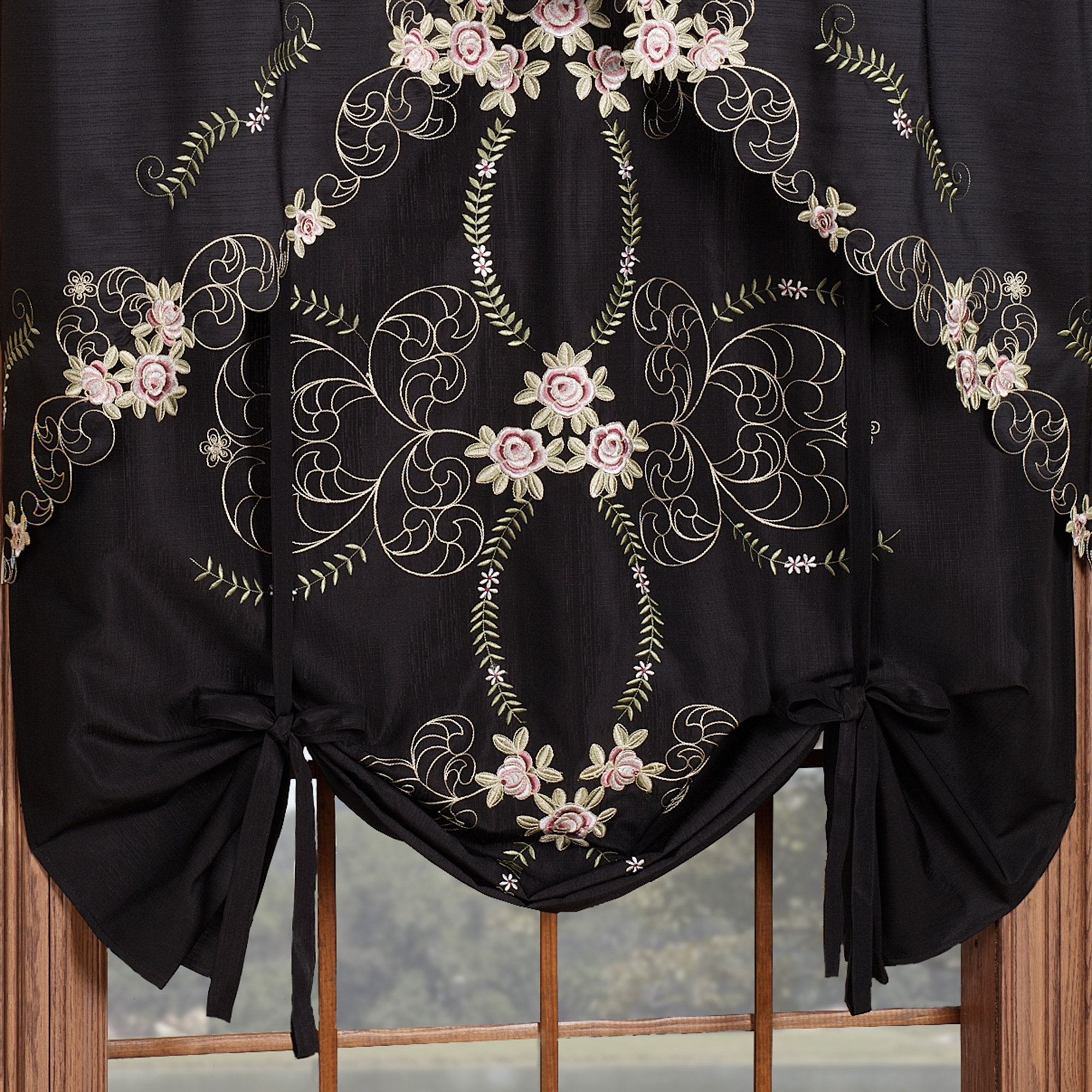 Annabella Rose Floral Black Tie Up Window Shade